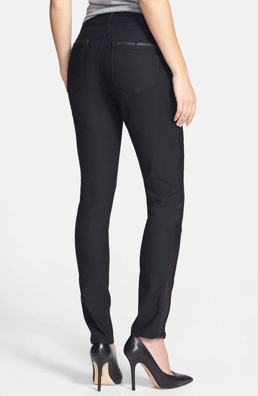 'Megan' Faux Leather Trim Stretch Skinny Jeans,                             Main thumbnail 1, color,                             460