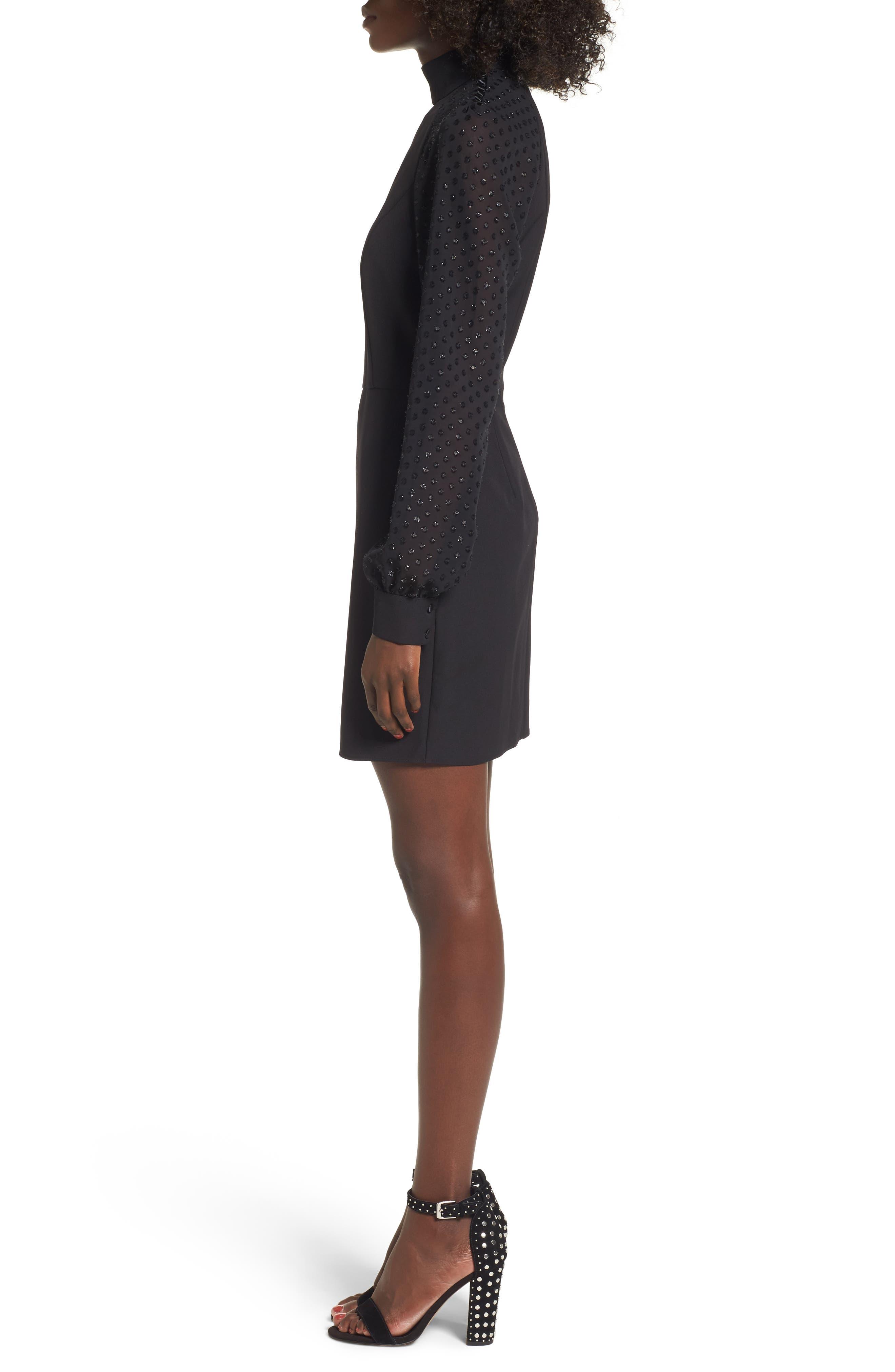 Layne One-Shoulder Dress,                             Alternate thumbnail 3, color,                             001