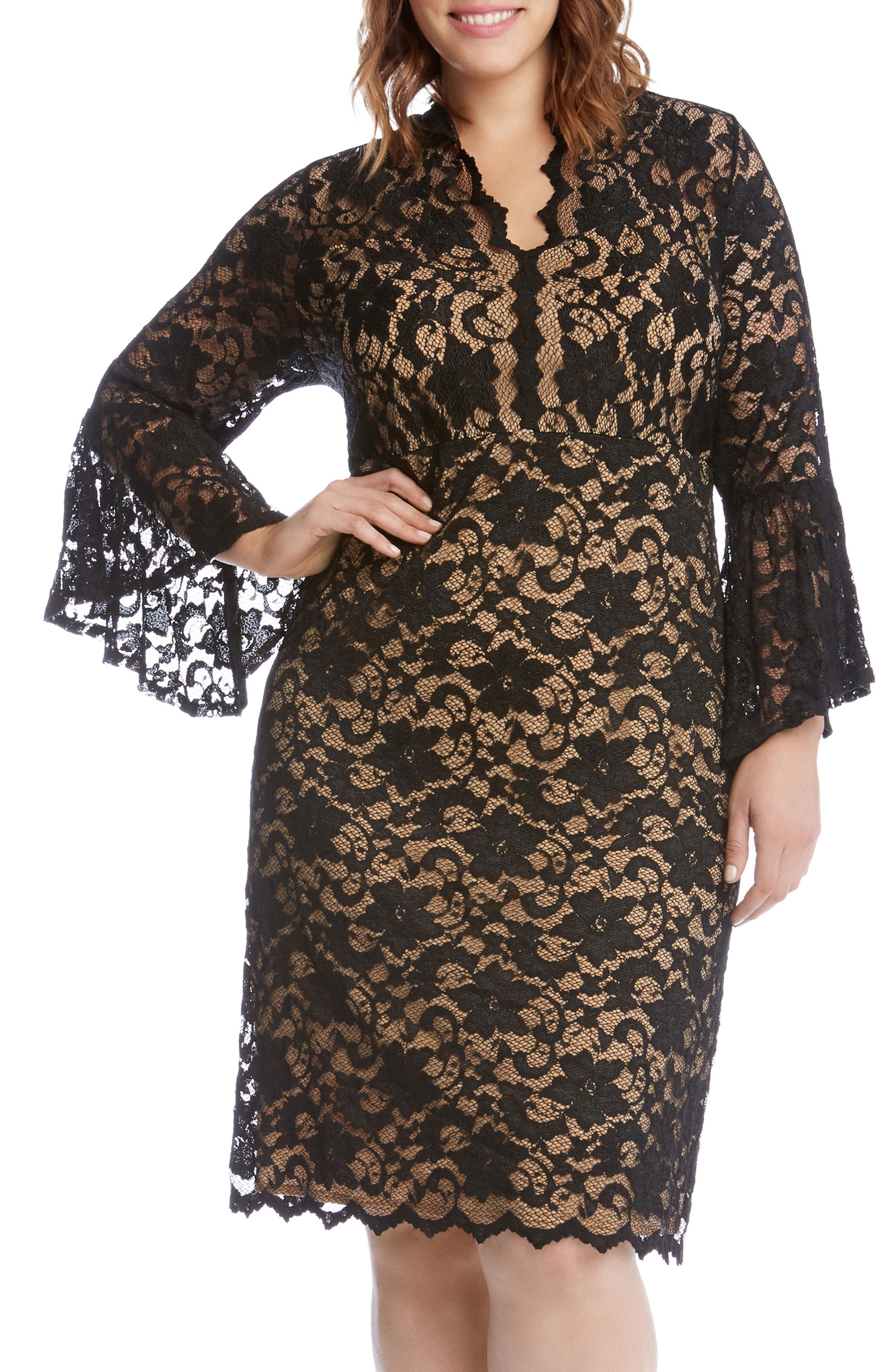 Bell Sleeve Lace Shift Dress,                             Alternate thumbnail 2, color,                             011
