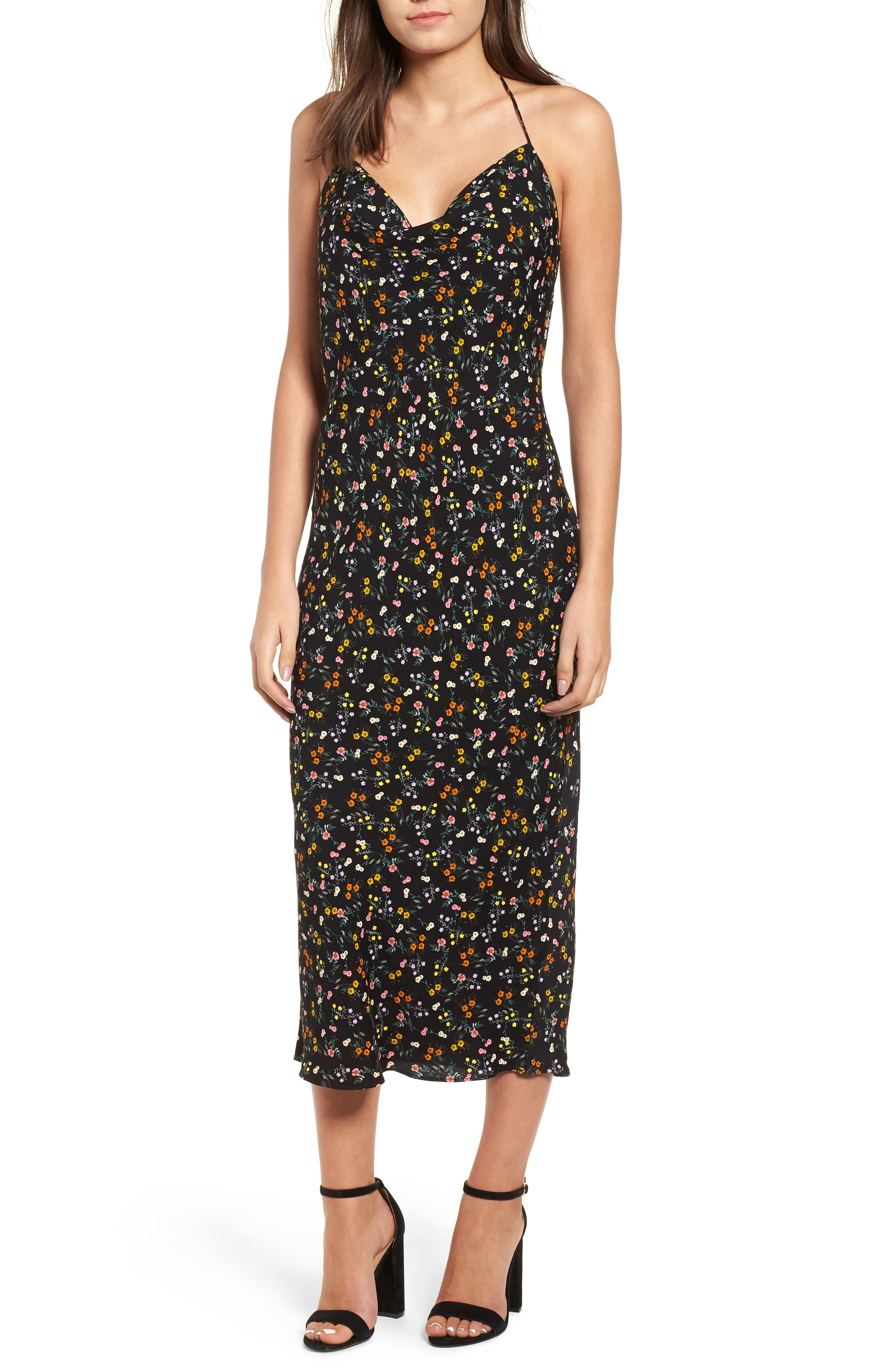 Rowland Midi Dress,                             Main thumbnail 1, color,                             NOIR PETITE FLEUR