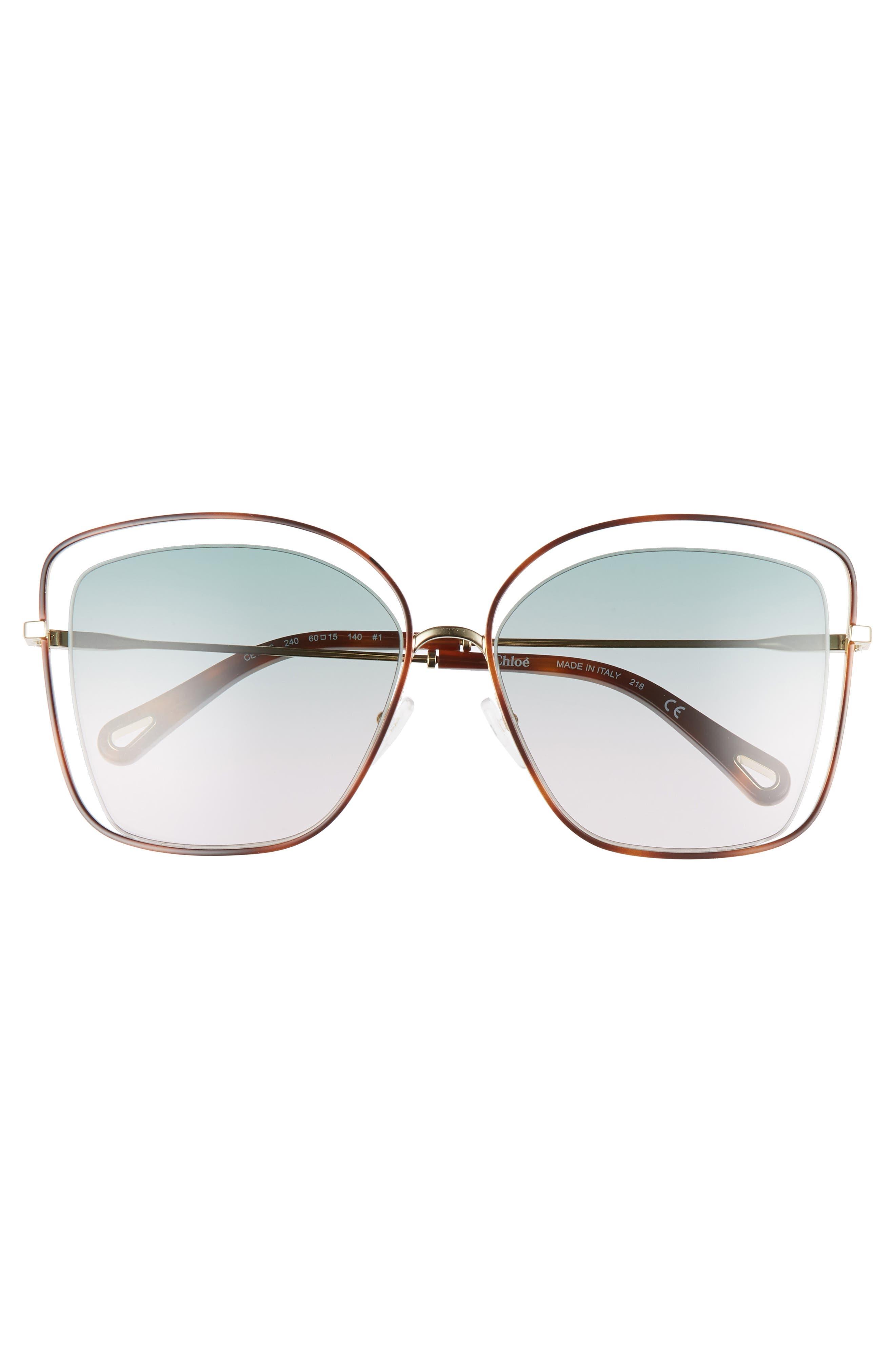 60mm Halo Frame Sunglasses,                             Alternate thumbnail 3, color,                             HAVANA/ GREEN ROSE