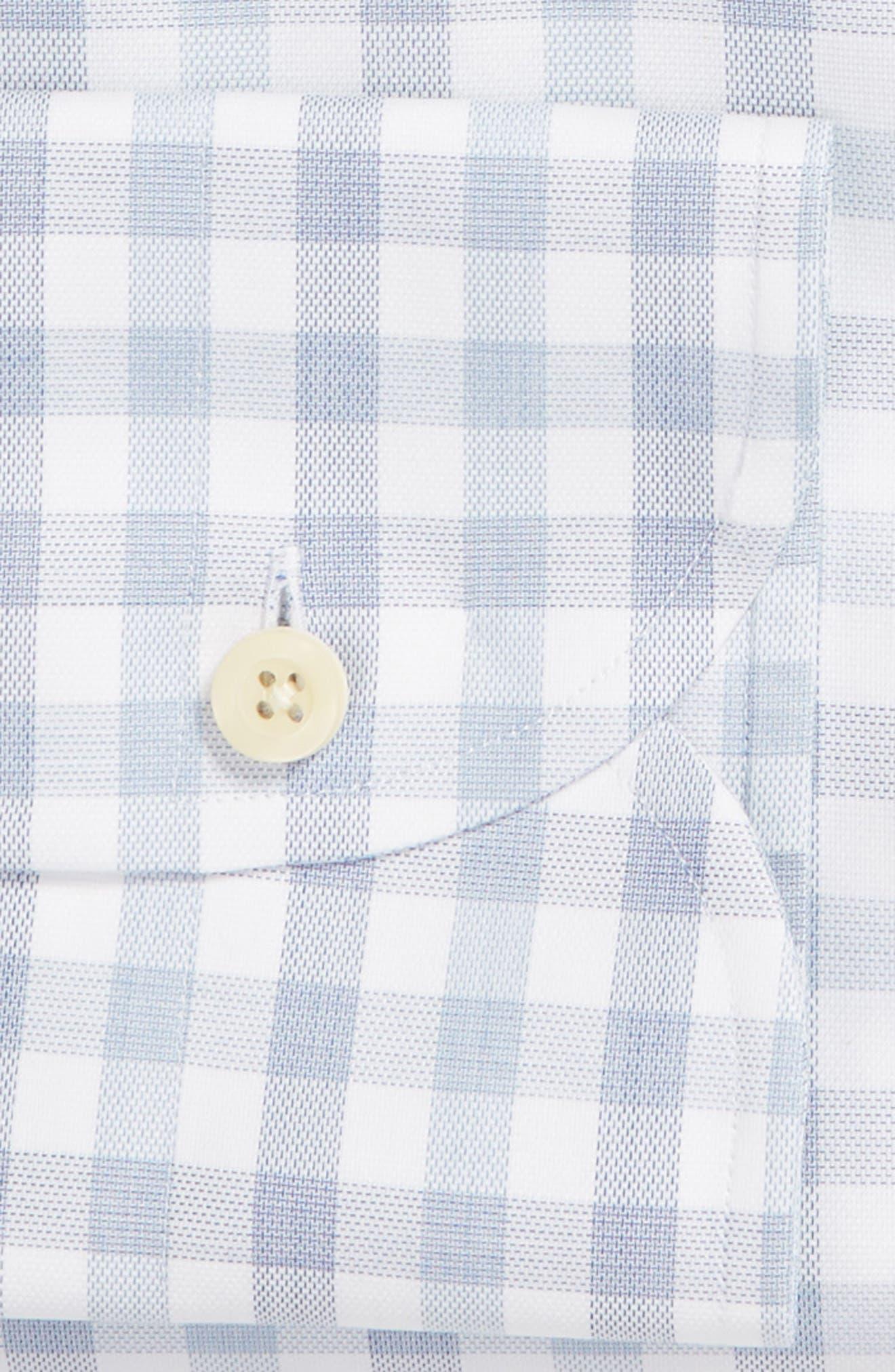 Corbly Trim Fit Check Dress Shirt,                             Alternate thumbnail 6, color,                             LIGHT BLUE