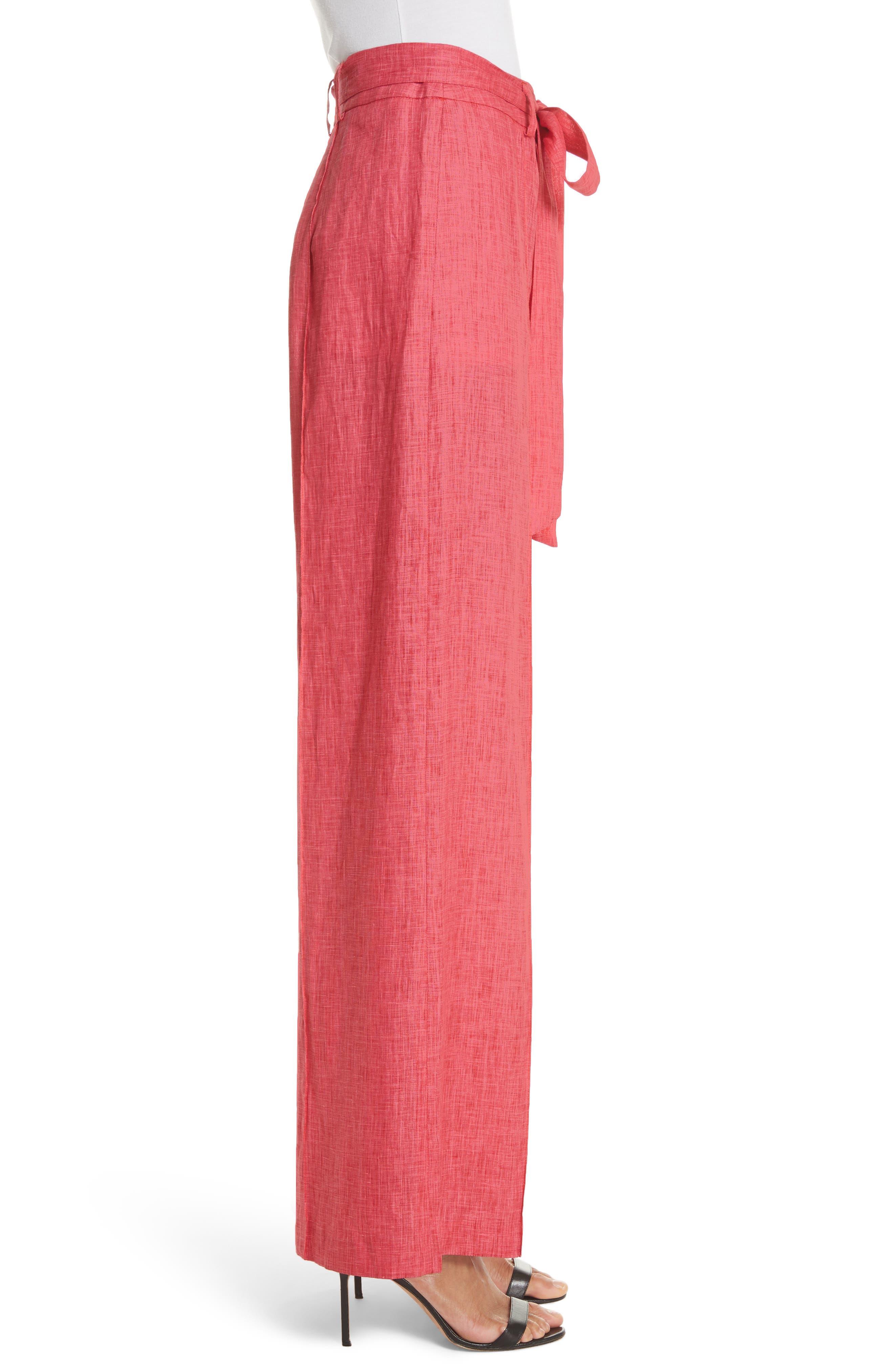 Hayden Belted Wide Leg Italian Linen Pants,                             Alternate thumbnail 3, color,                             POPPY