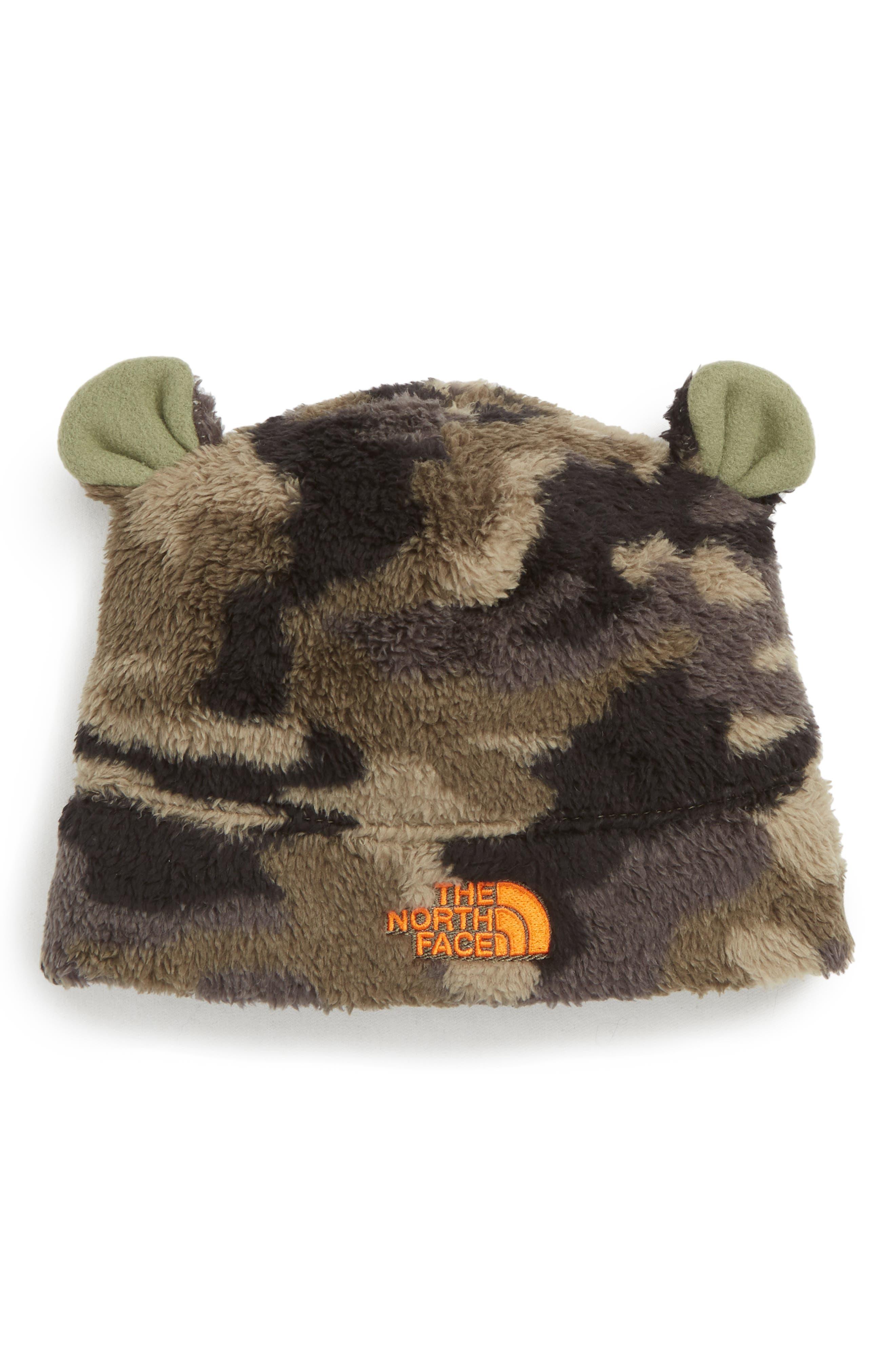 Baby Bear Faux Fur Beanie,                         Main,                         color, GREEN CAMO/ PERSIAN ORANGE
