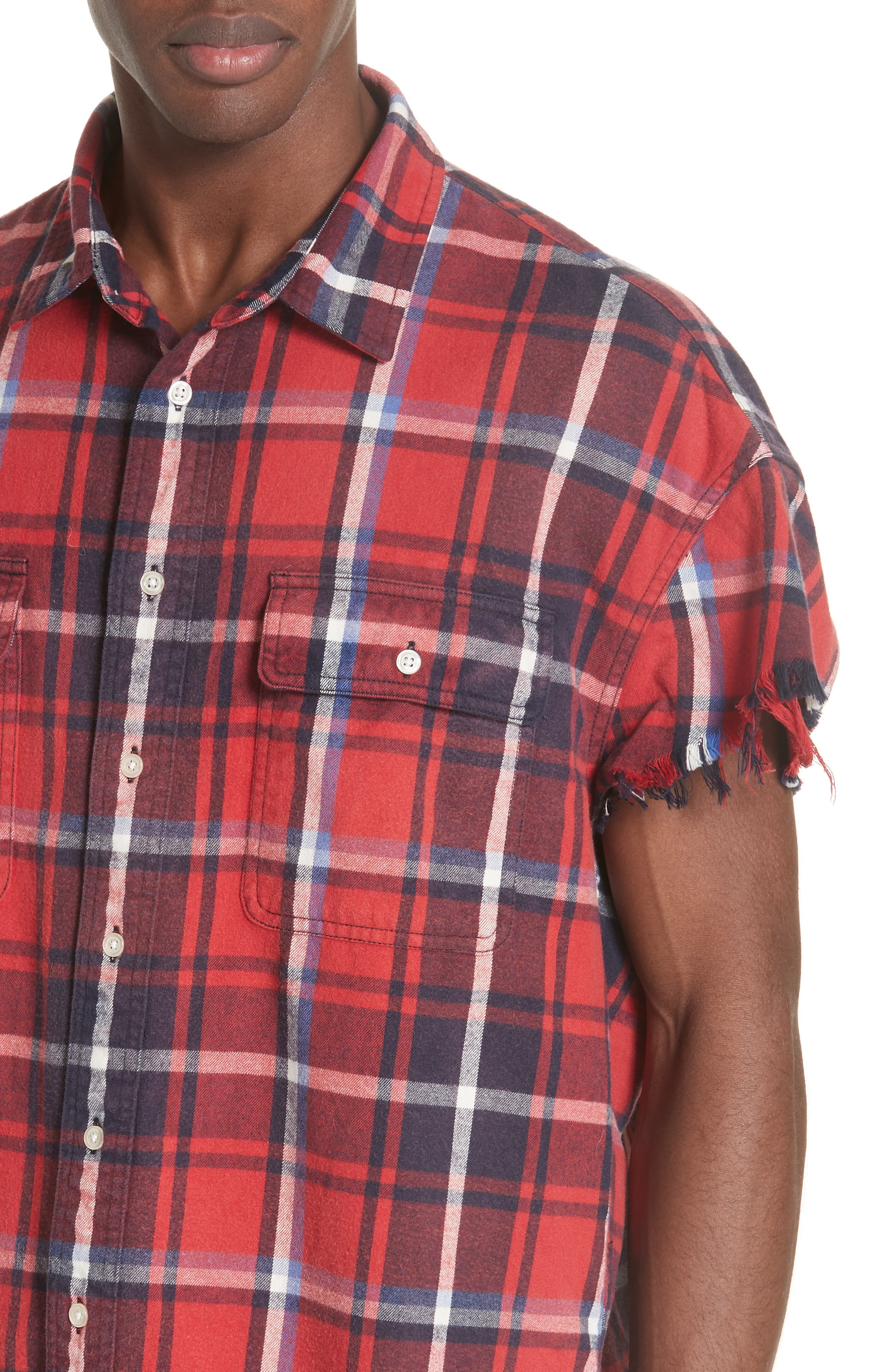 Oversize Cut Off Flannel Shirt,                             Alternate thumbnail 4, color,                             RED