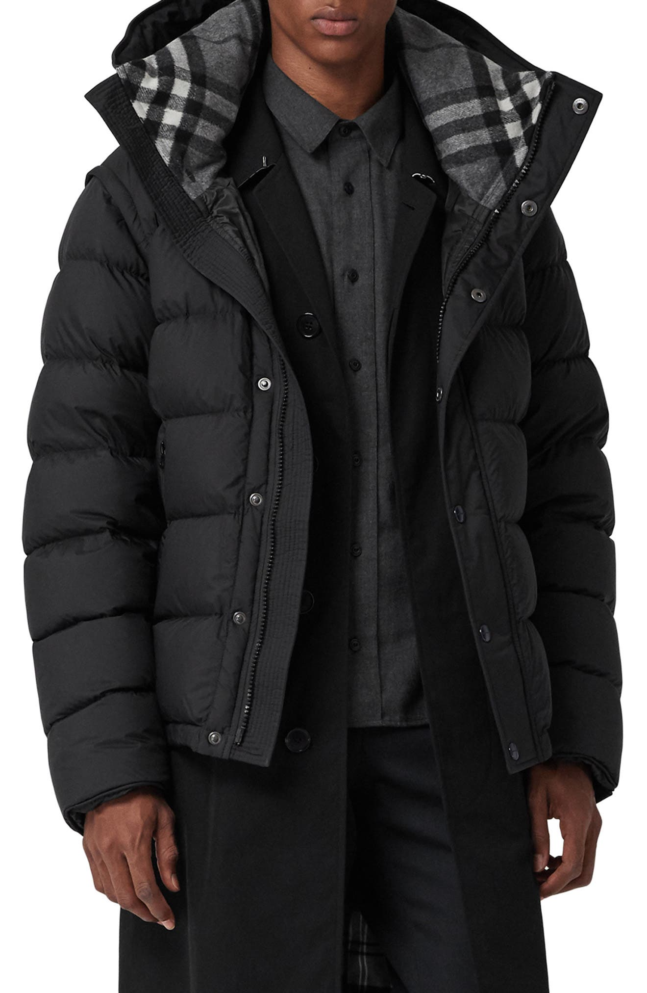 Hartley Hybrid Jacket with Detachable Sleeves,                             Main thumbnail 1, color,                             BLACK