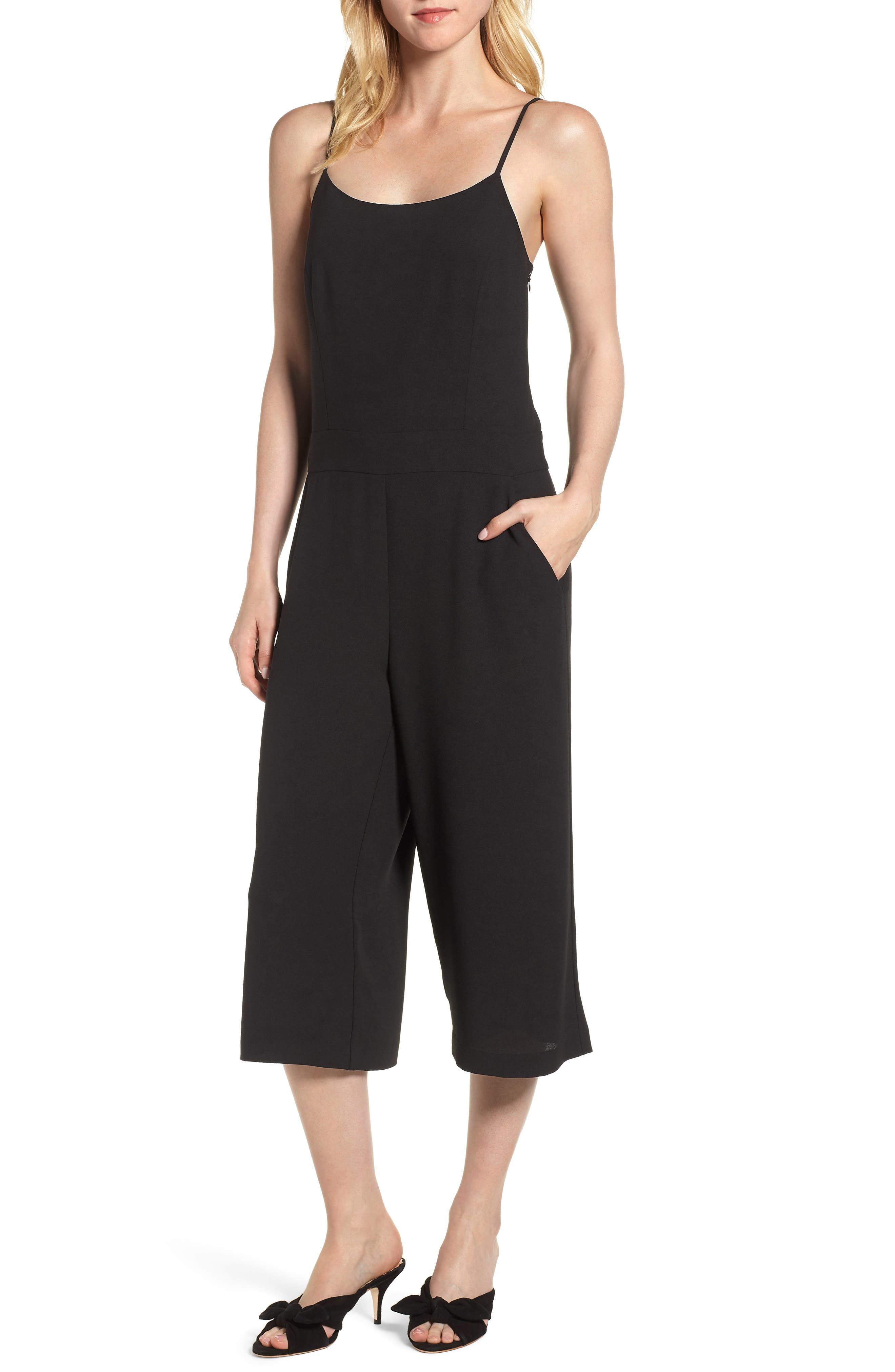 Spaghetti Strap Culotte Jumpsuit,                             Main thumbnail 1, color,                             006