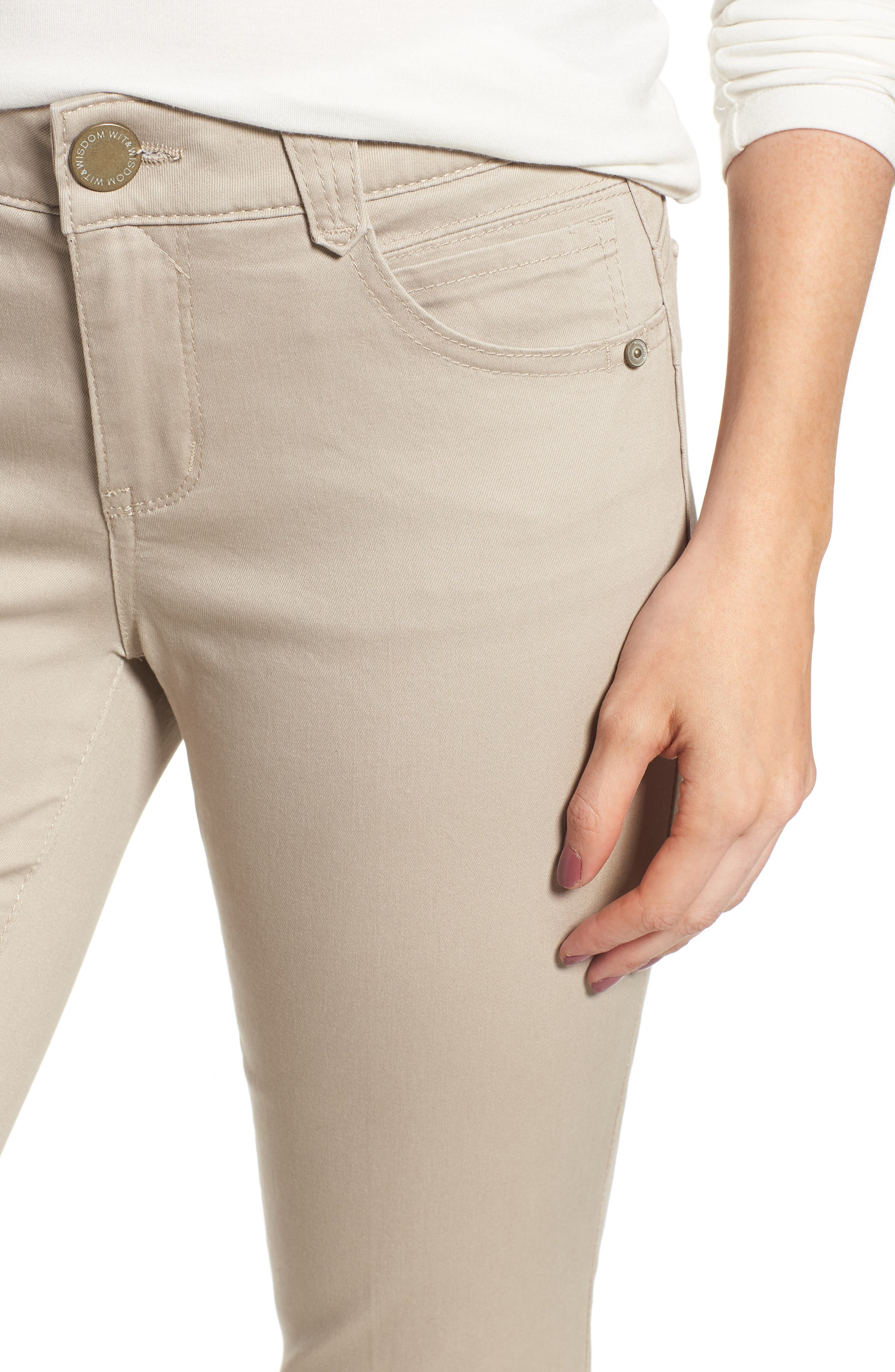 WIT & WISDOM,                             Ab-Solution Crop Skinny Pants,                             Alternate thumbnail 5, color,                             FLAX