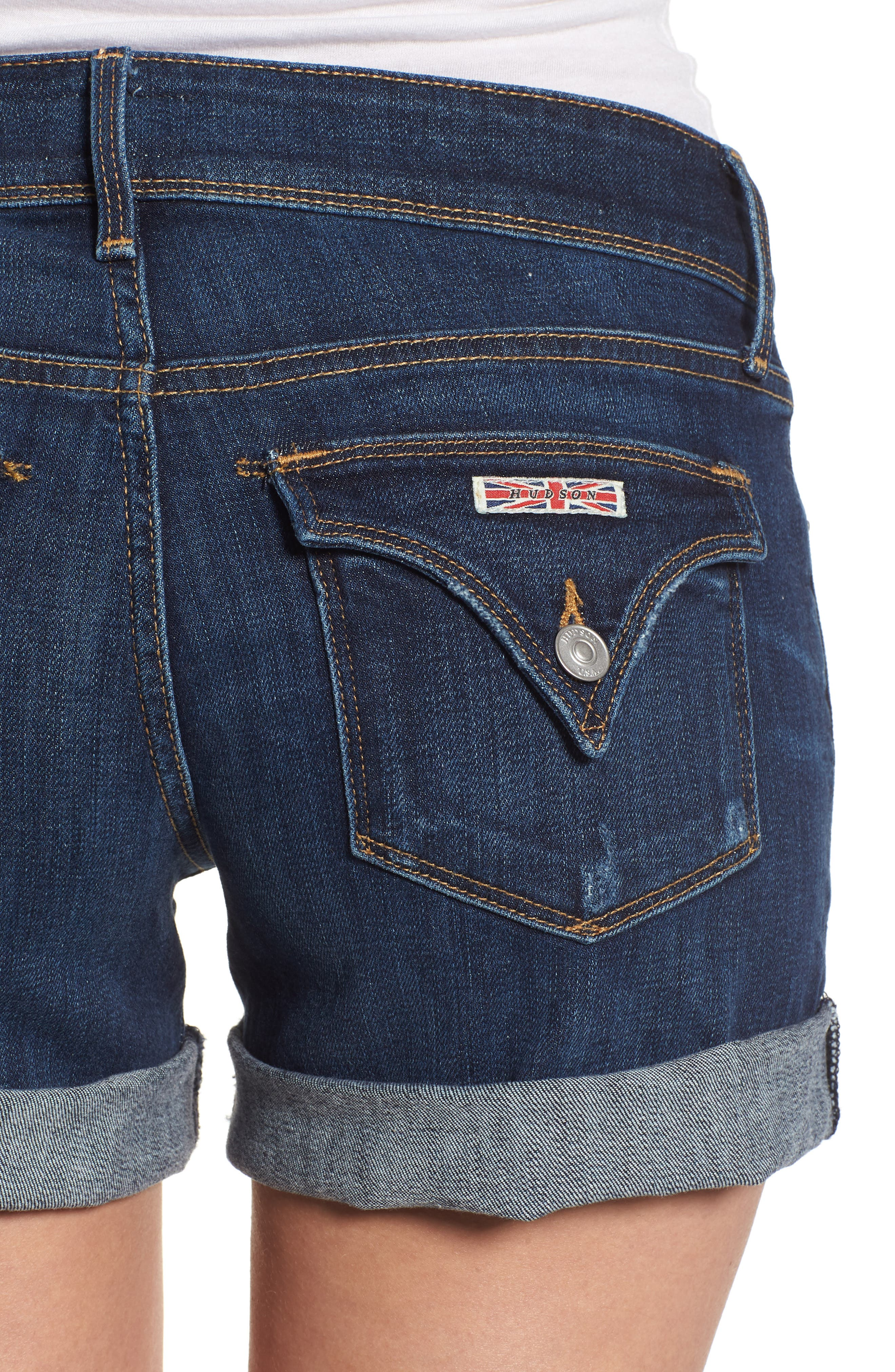 Croxley Cuffed Denim Shorts,                             Alternate thumbnail 4, color,                             423