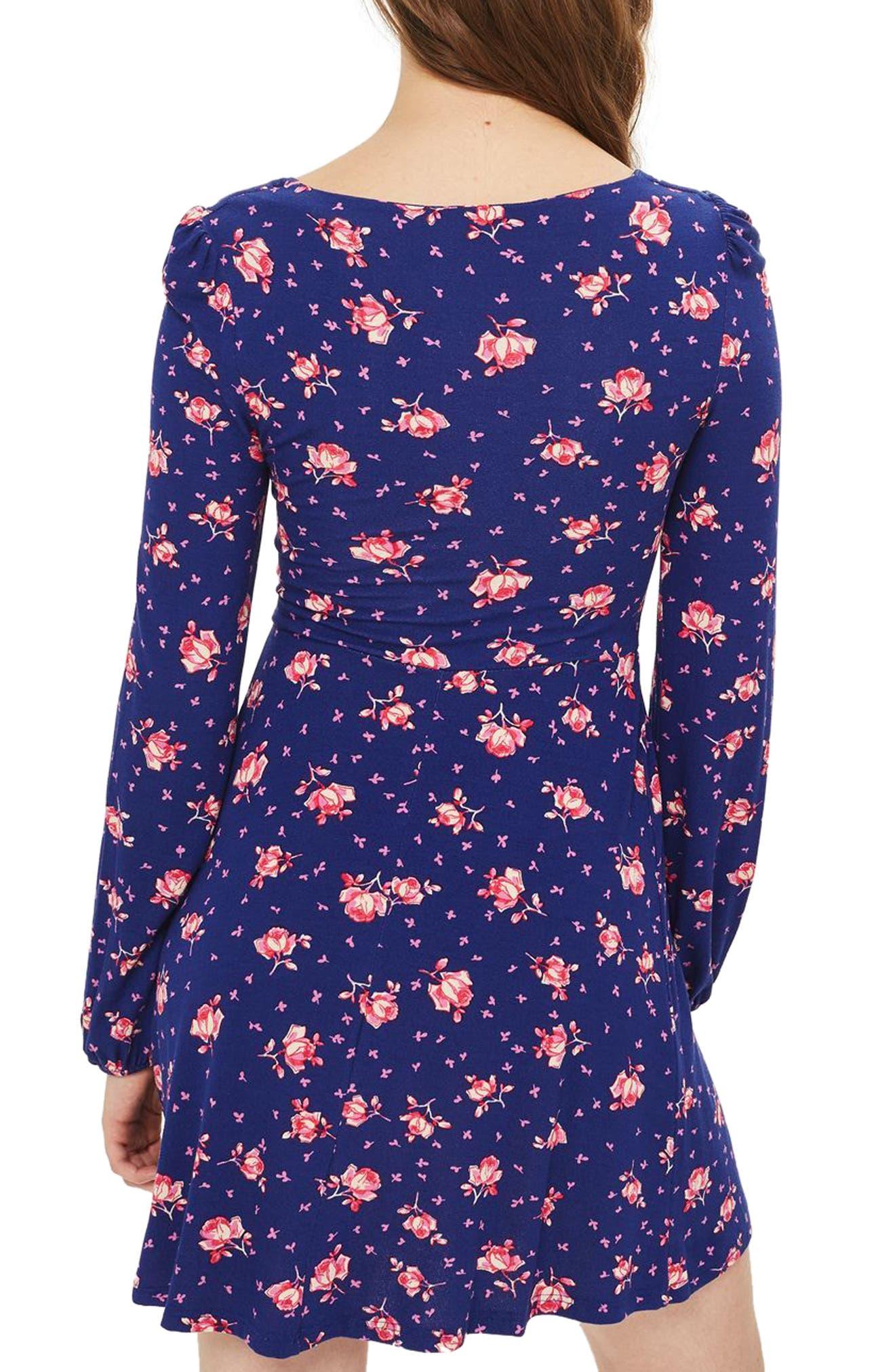 Floral Skater Dress,                             Alternate thumbnail 2, color,                             400