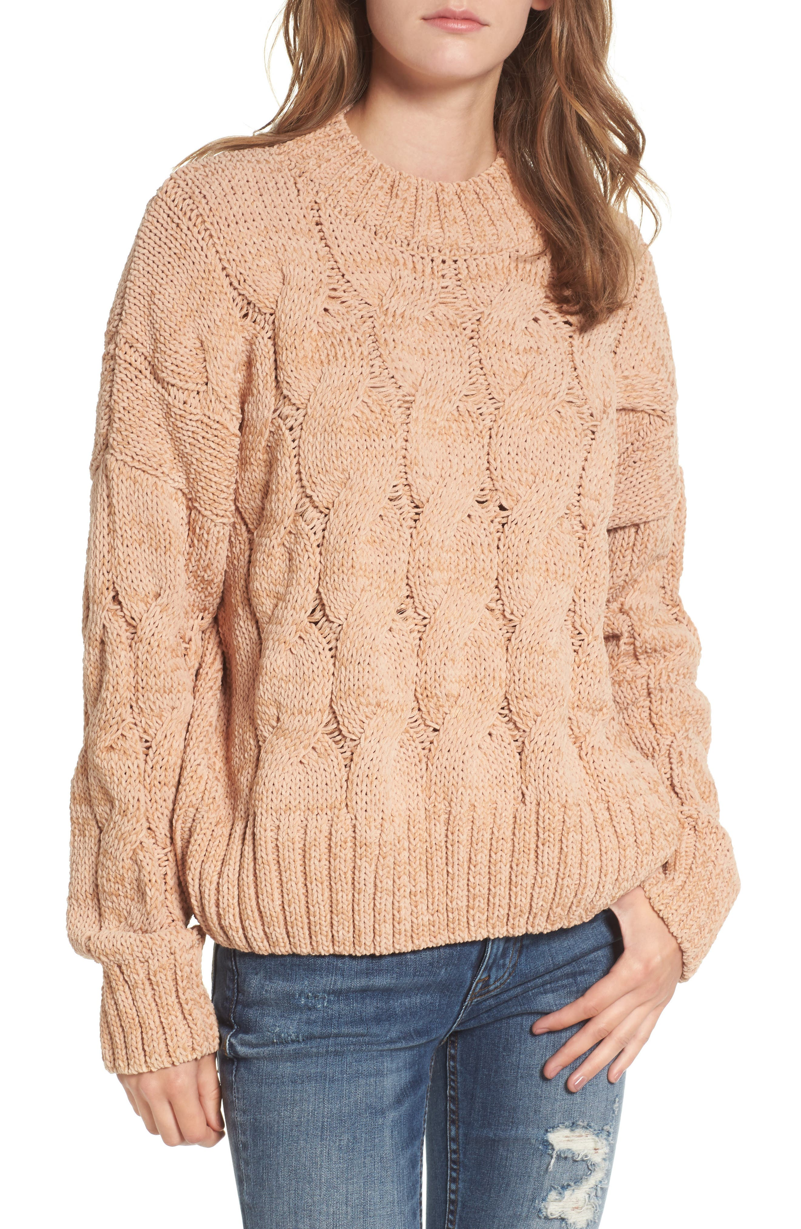 Cable Knit Sweater,                             Main thumbnail 1, color,                             650
