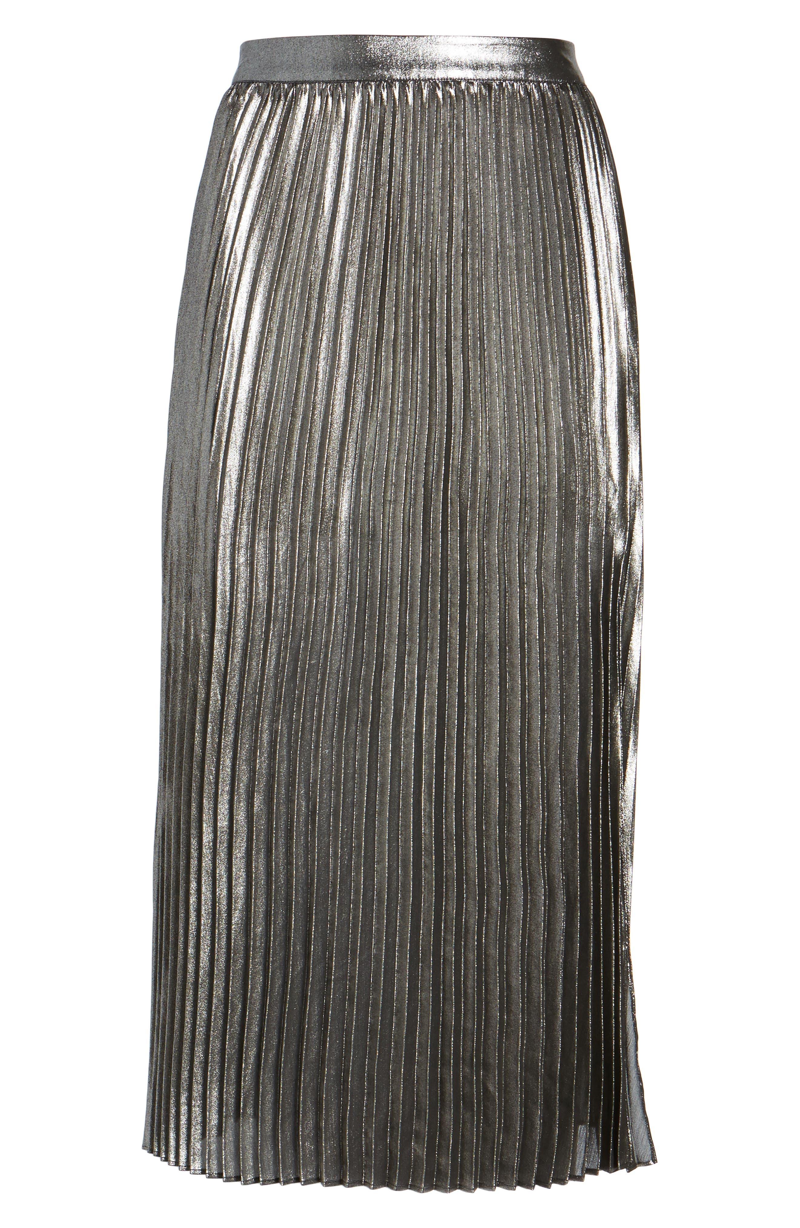 Metallic Pleated Skirt,                             Alternate thumbnail 6, color,                             040