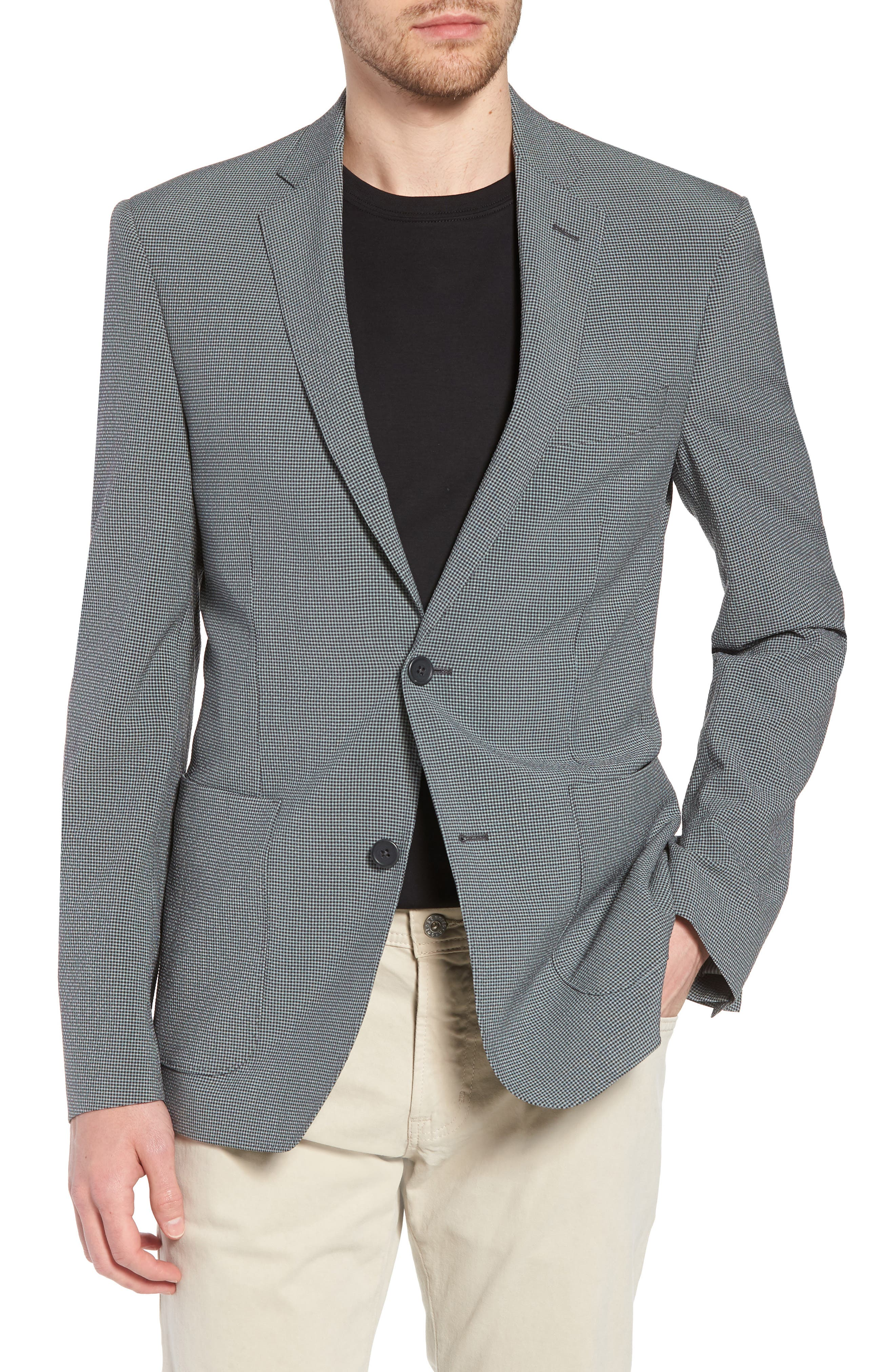 Trim Fit Seersucker Wool Blend Sport Coat,                             Main thumbnail 1, color,