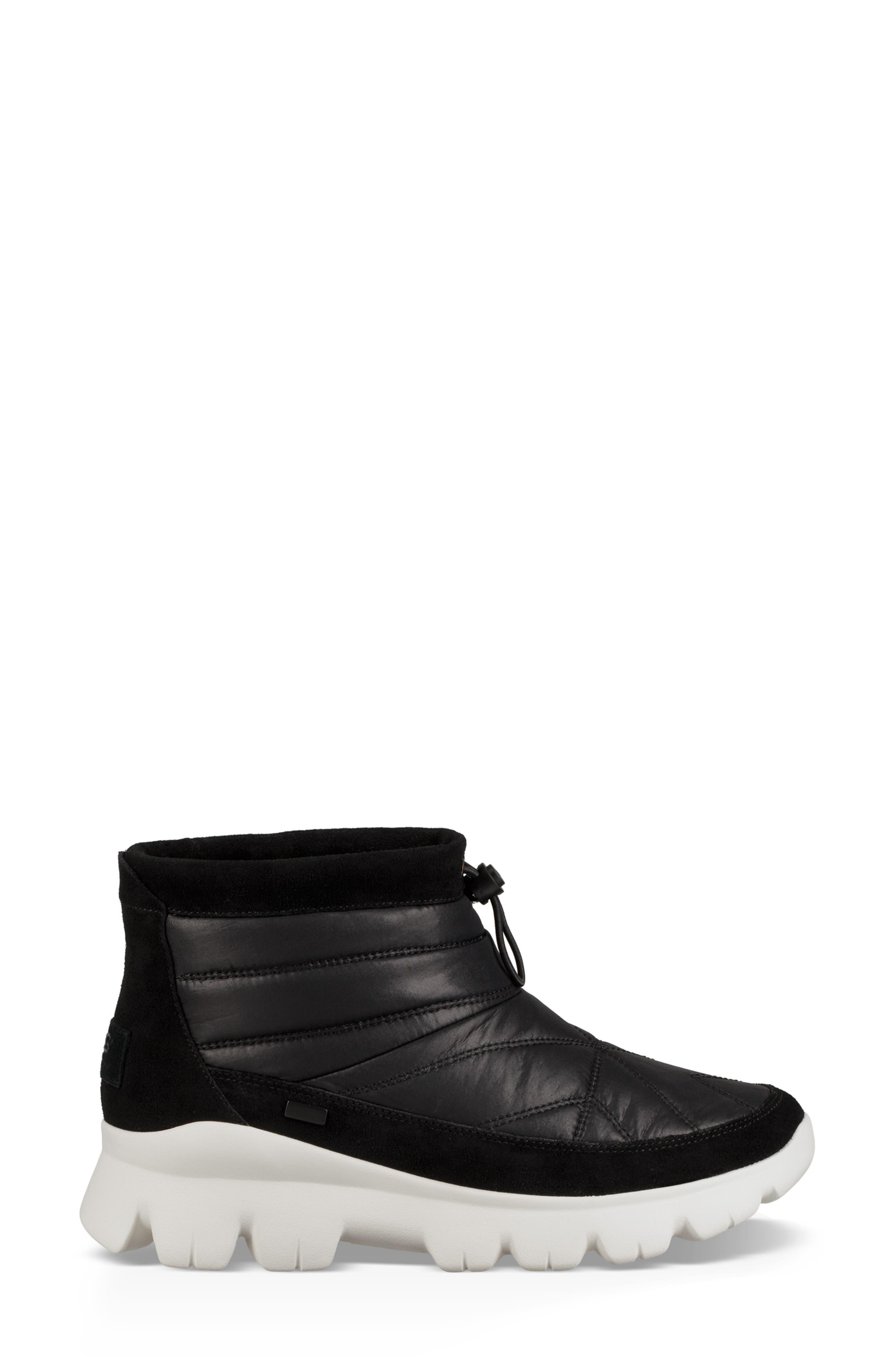 Centara Water Resistant Quilted Bootie,                             Alternate thumbnail 3, color,                             BLACK