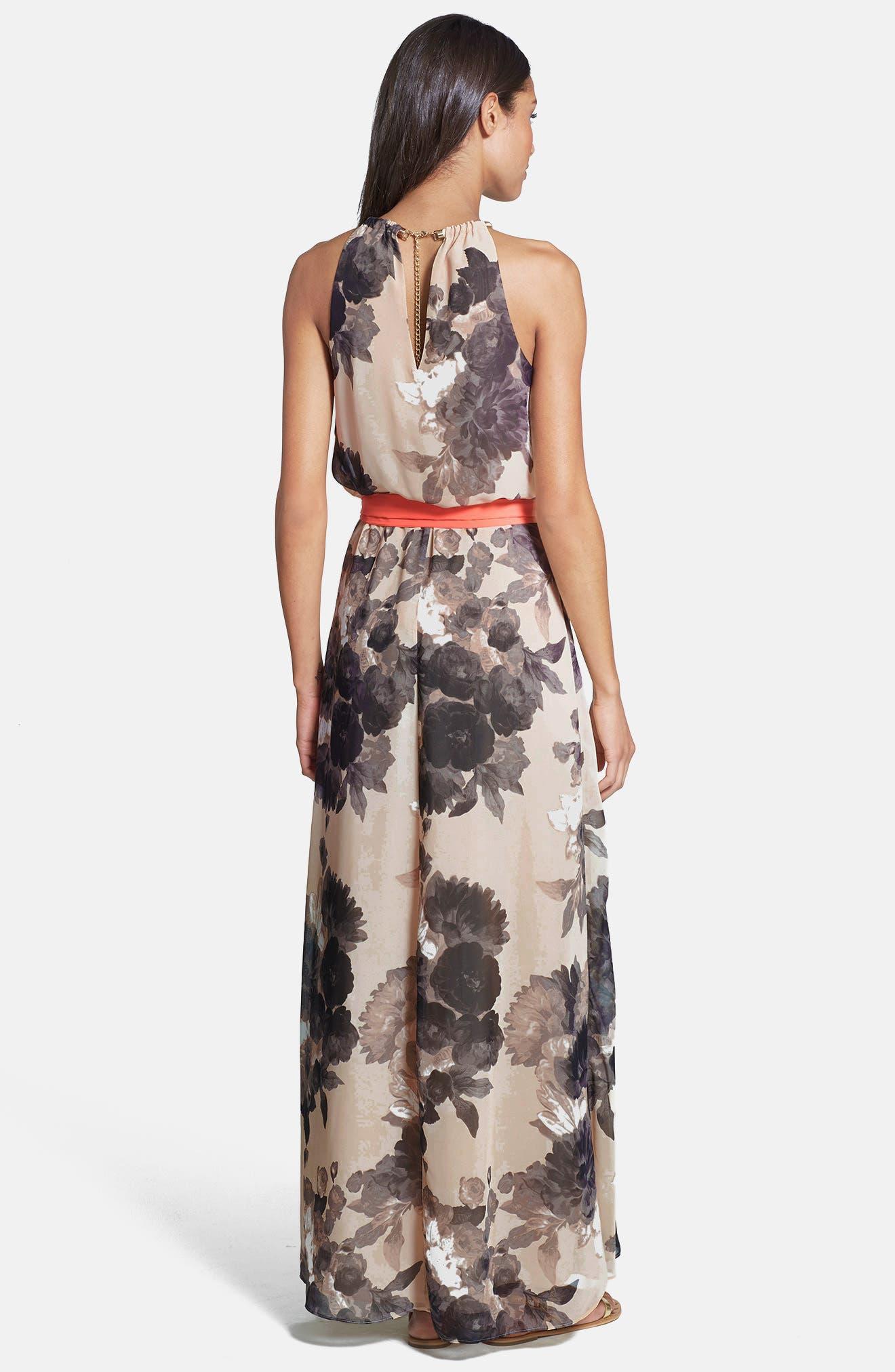 Floral Print Chiffon Maxi Dress,                             Alternate thumbnail 3, color,                             TAUPE/ BLACK