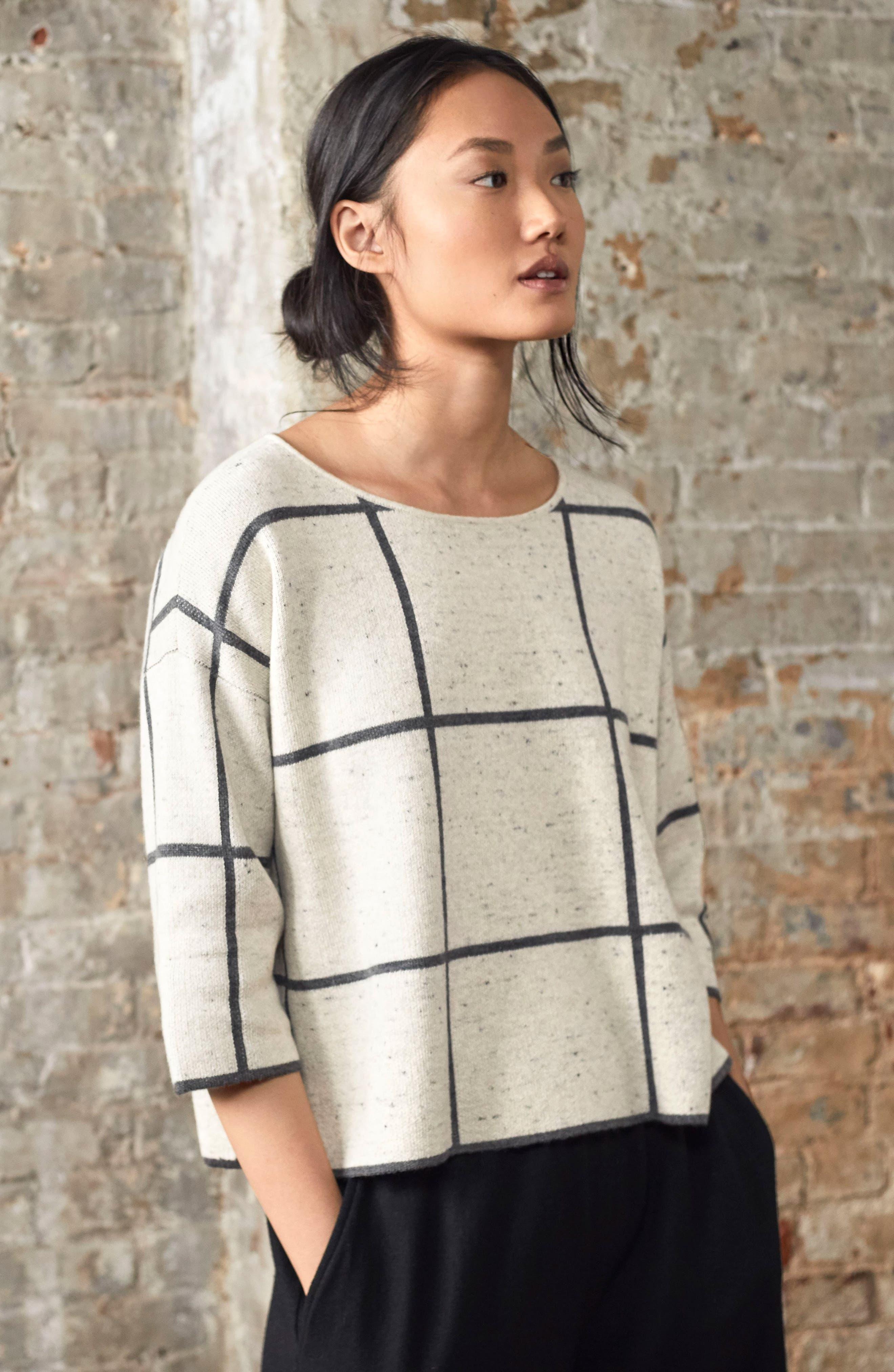 Windowpane Check Boxy Sweater,                             Alternate thumbnail 9, color,                             264