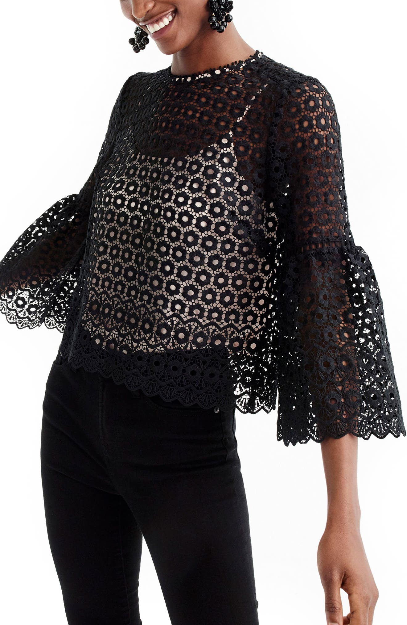 Bell Sleeve Daisy Lace Top,                             Main thumbnail 1, color,                             001