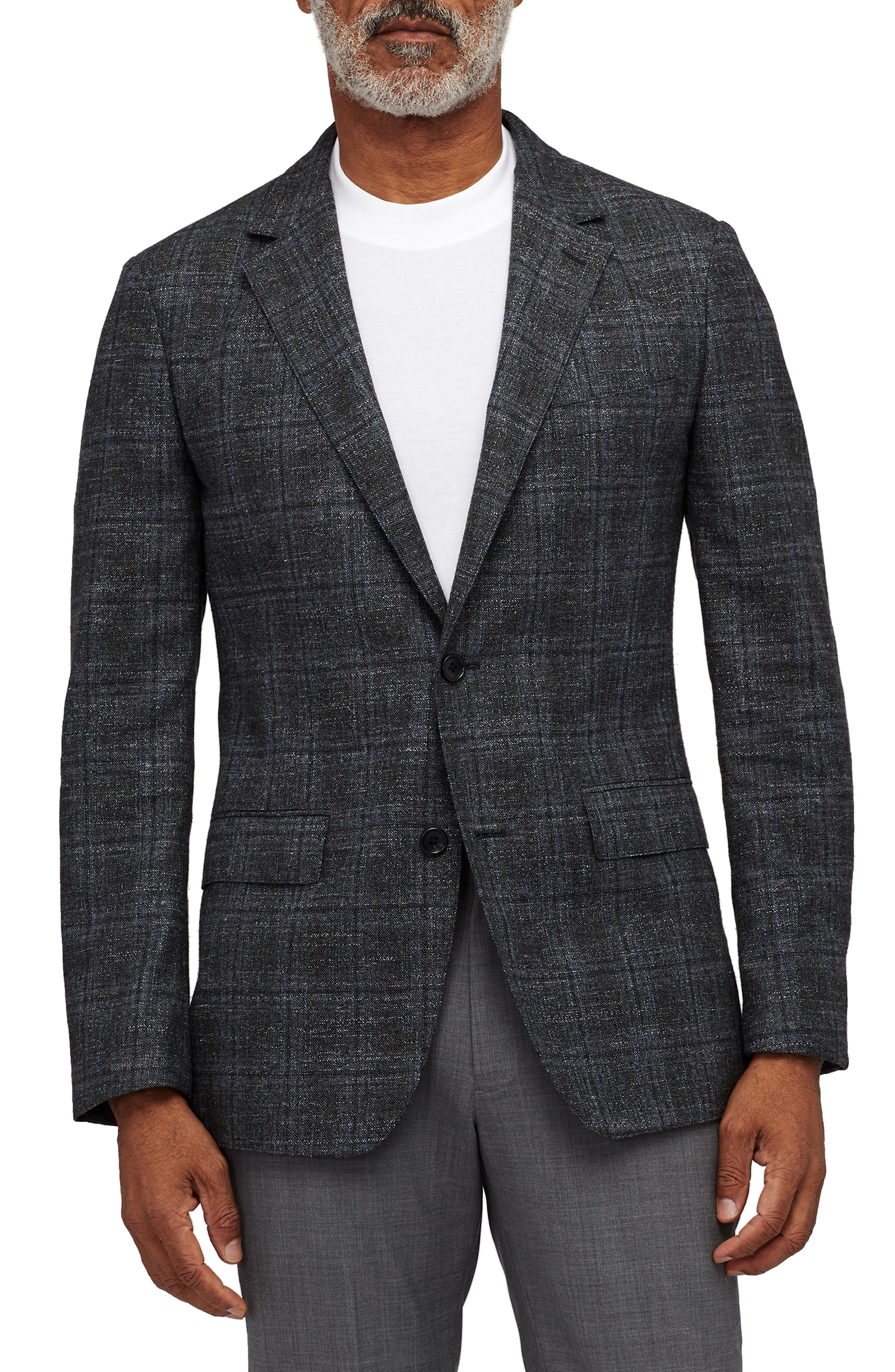 Slim Fit Unconstructed Plaid Blazer,                         Main,                         color, OLIVE AND GREY