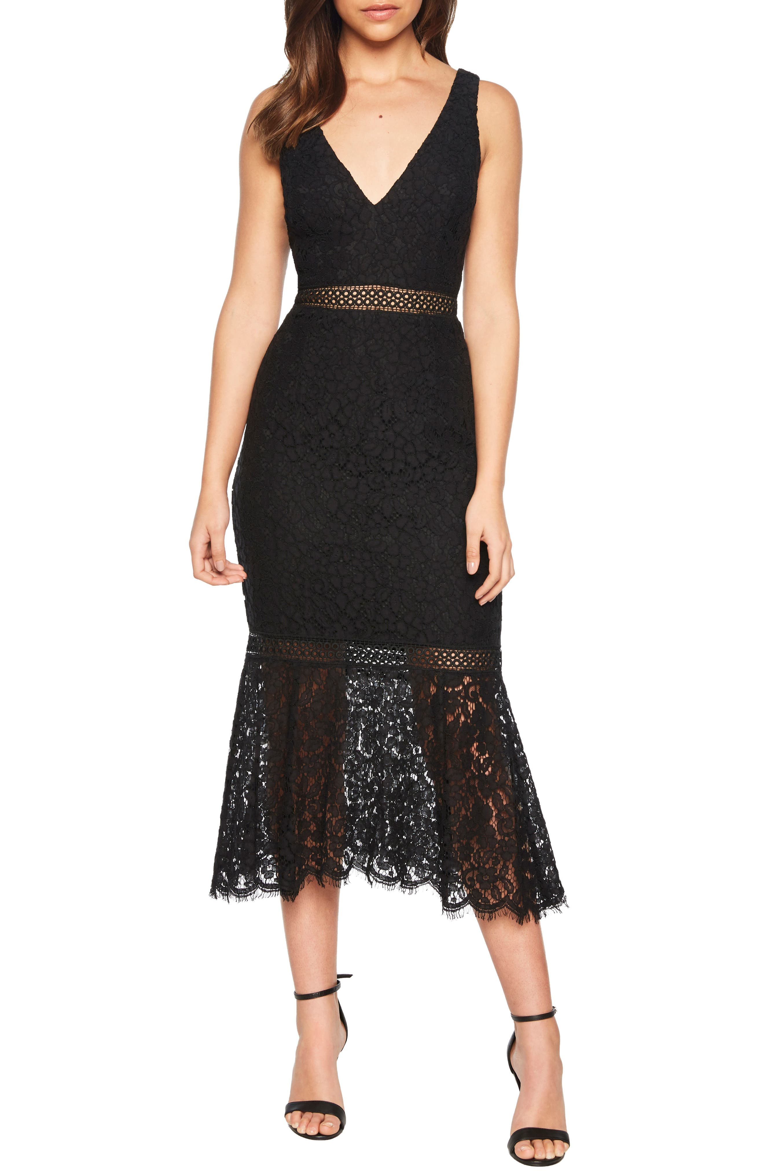 BARDOT Sienna Lace Trumpet Dress, Main, color, 001