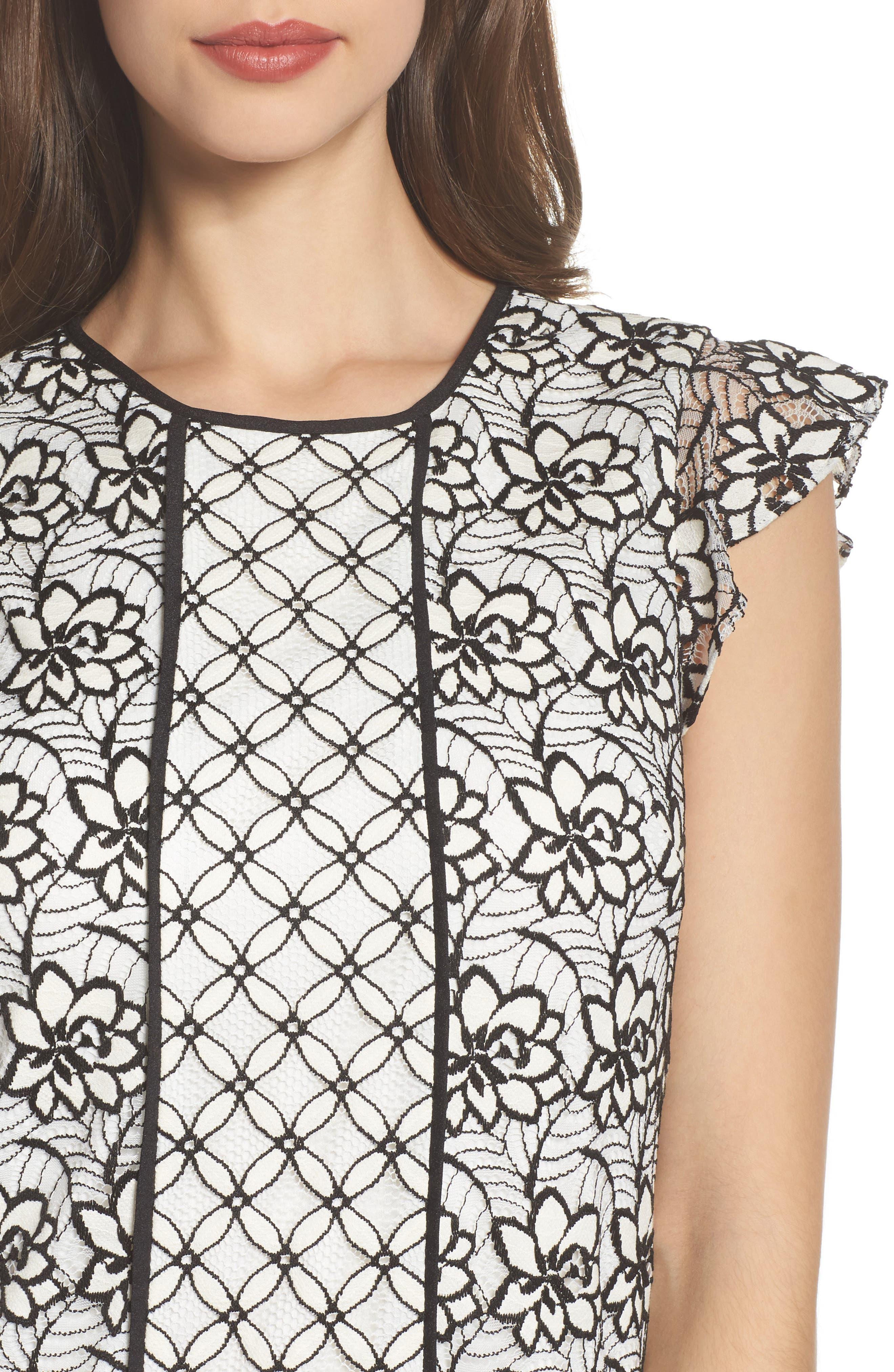 Lace Shift Dress,                             Alternate thumbnail 4, color,                             002