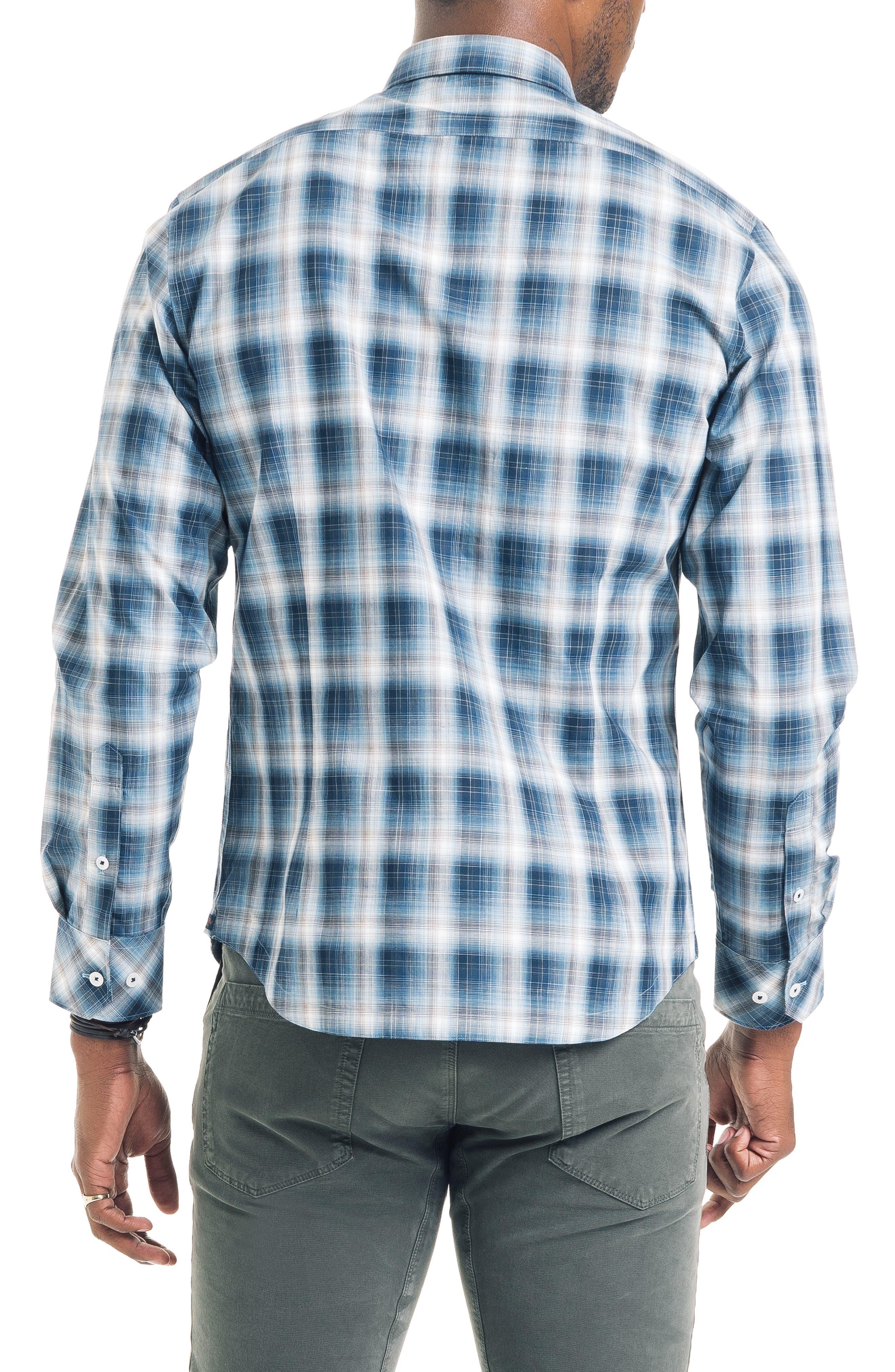 Shadow Slim Fit Plaid Sport Shirt,                             Alternate thumbnail 2, color,                             410