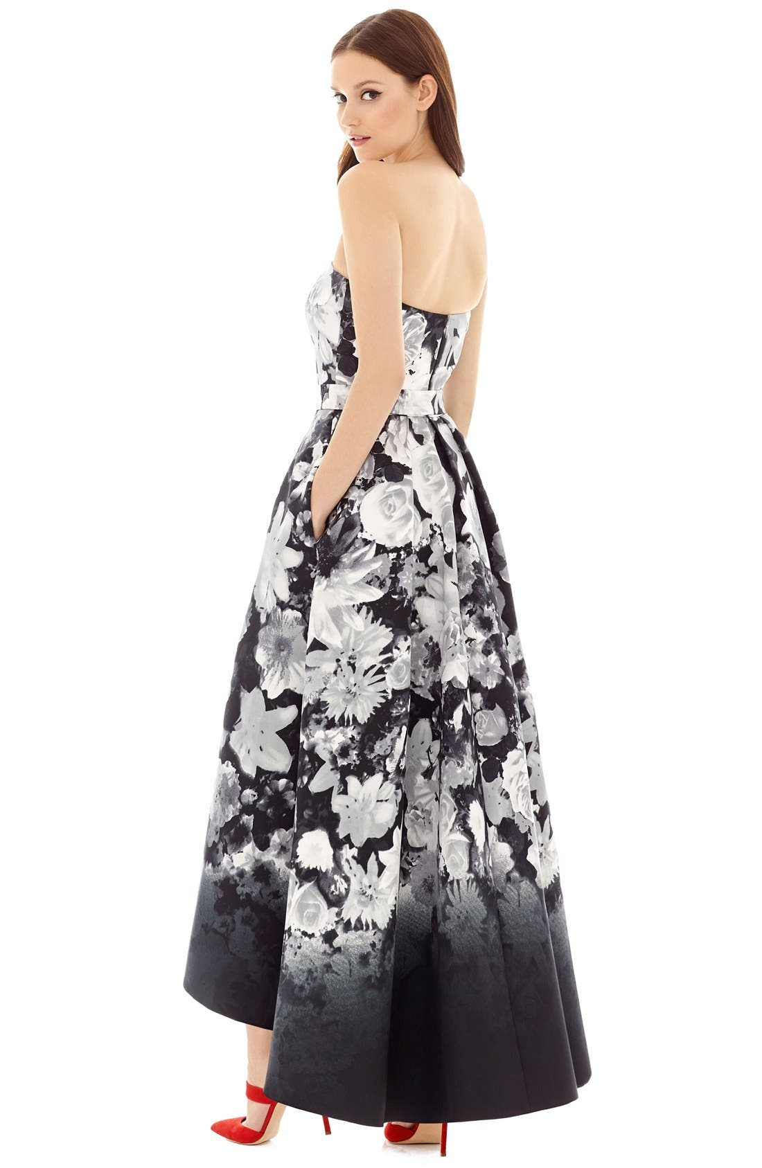 Floral Print Strapless Sateen High/Low Dress,                             Alternate thumbnail 3, color,                             BOHO