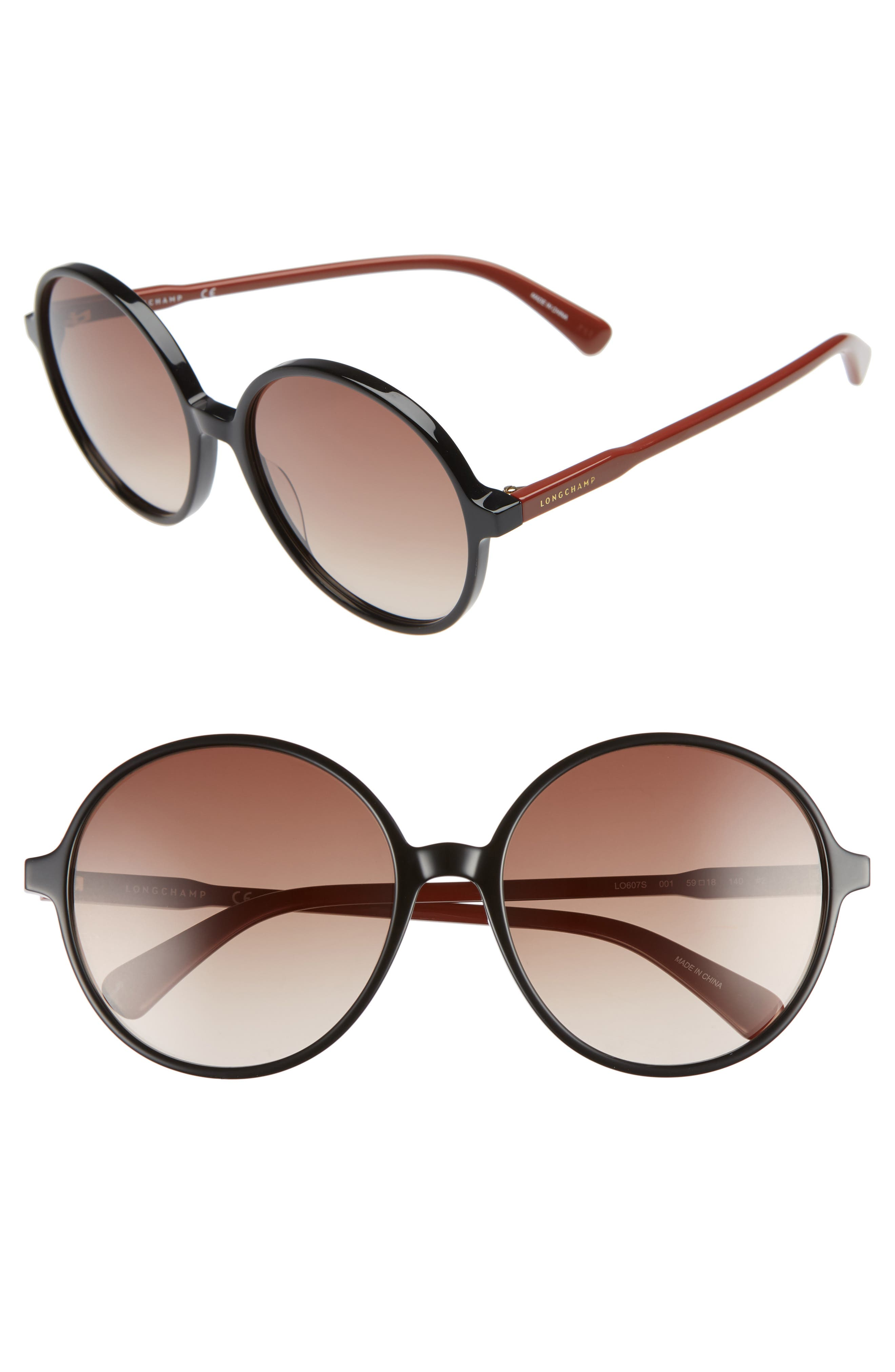 49mm Gradient Round Sunglasses,                         Main,                         color, BLACK