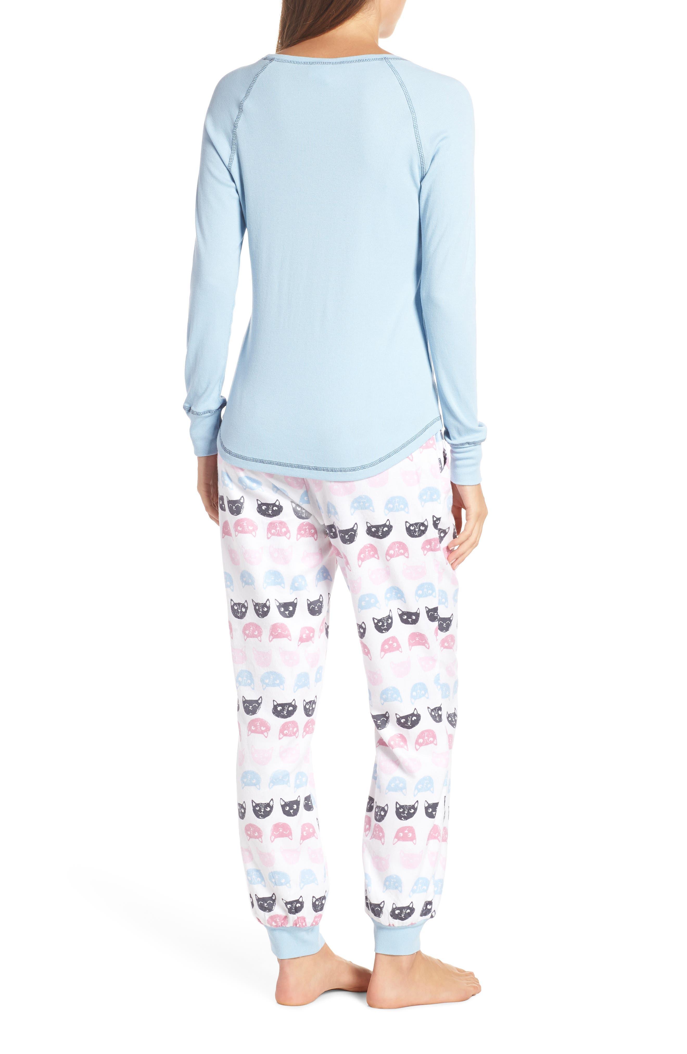 MUNKI MUNKI,                             Knit & Flannel Pajamas,                             Alternate thumbnail 2, color,                             WHITE CATS