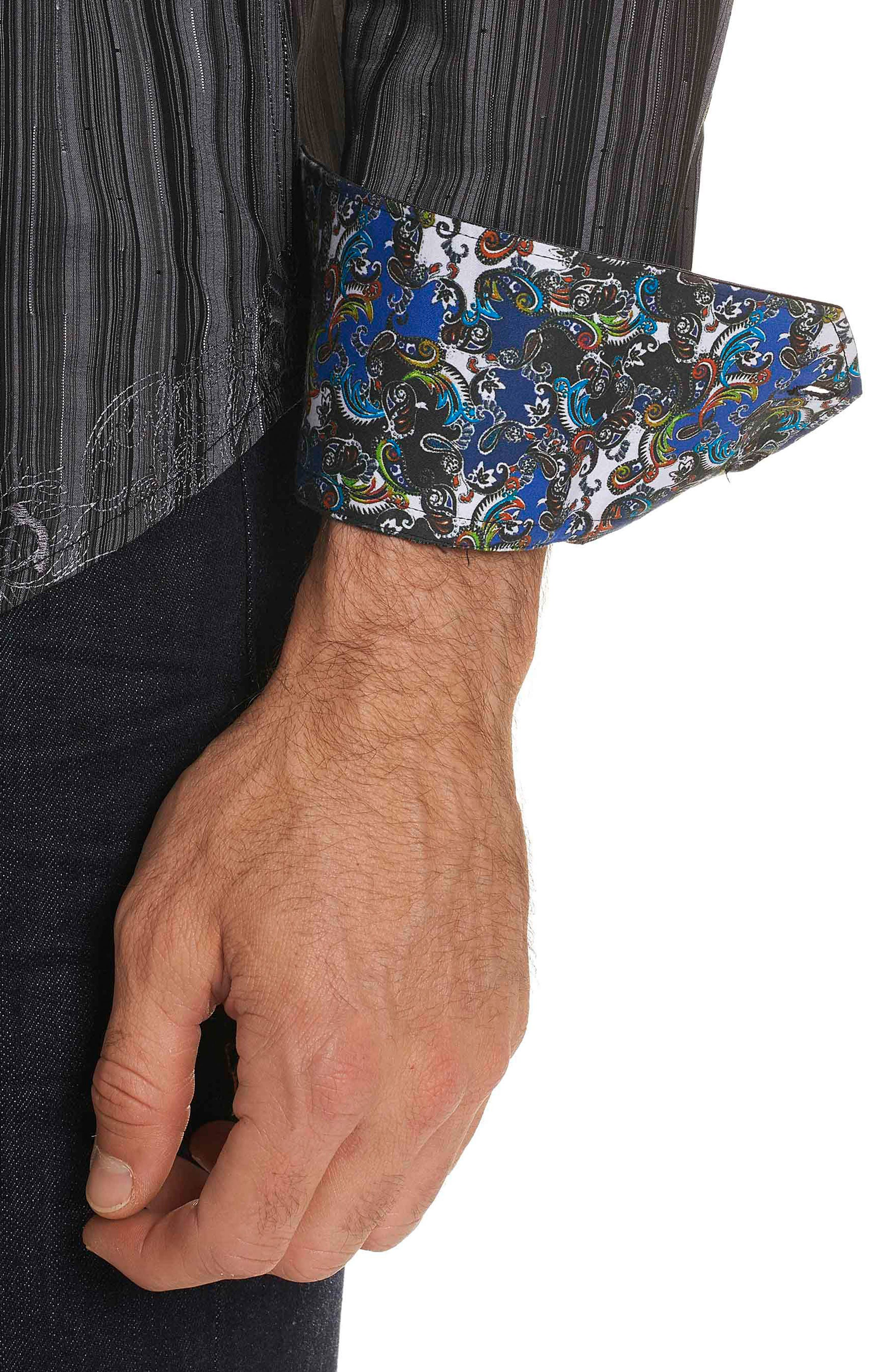 Lopez Classic Fit Stripe Sport Shirt,                             Alternate thumbnail 3, color,                             001