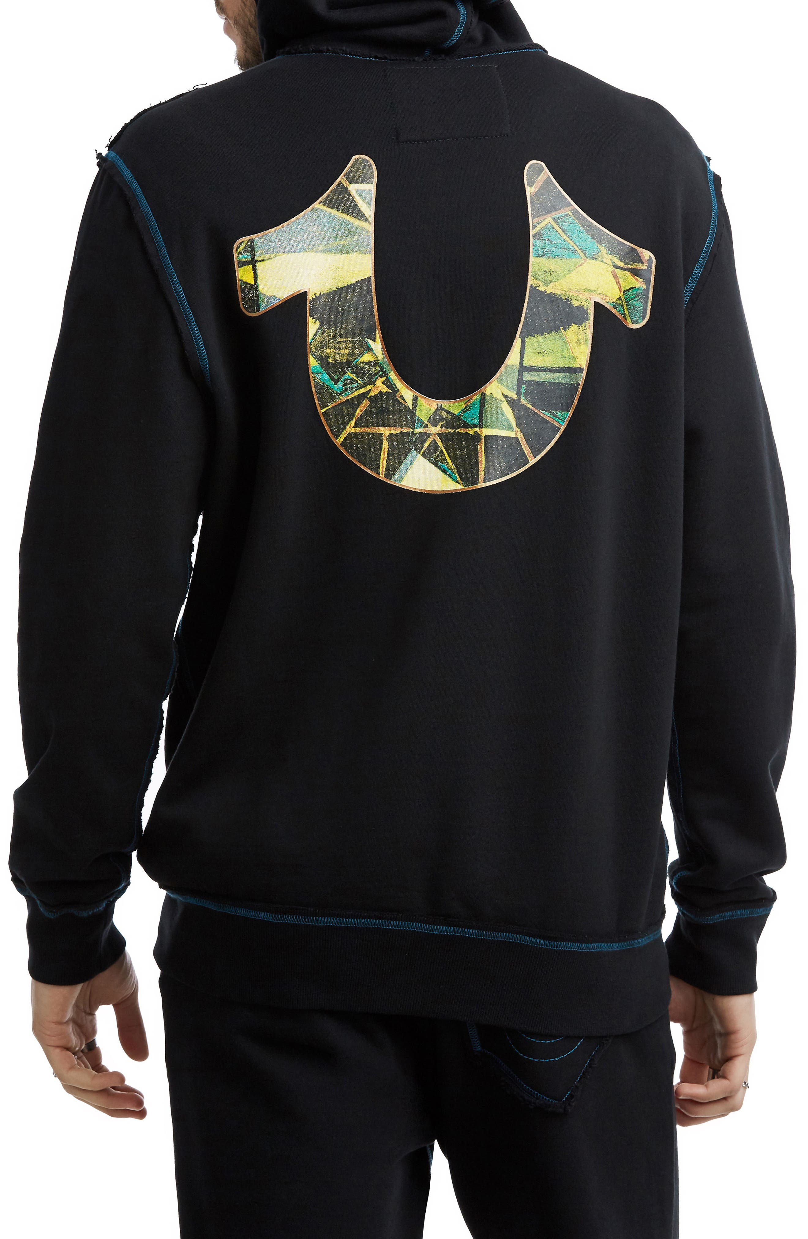 TRUE RELIGION BRAND JEANS,                             Stained Glass Hoodie,                             Alternate thumbnail 2, color,                             001