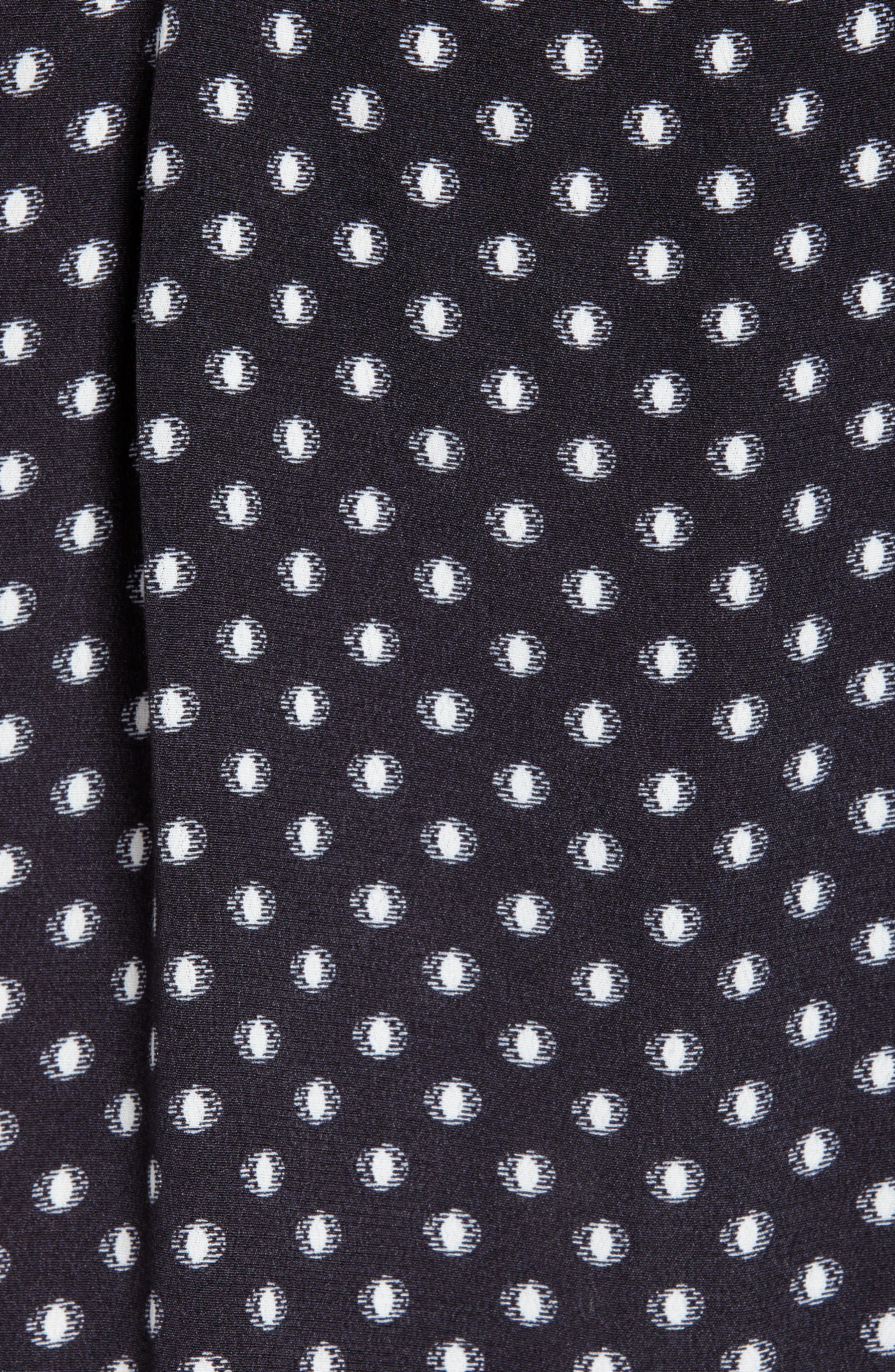 Printed A-Line Dress,                             Alternate thumbnail 6, color,                             BLACK/ WHITE DOT