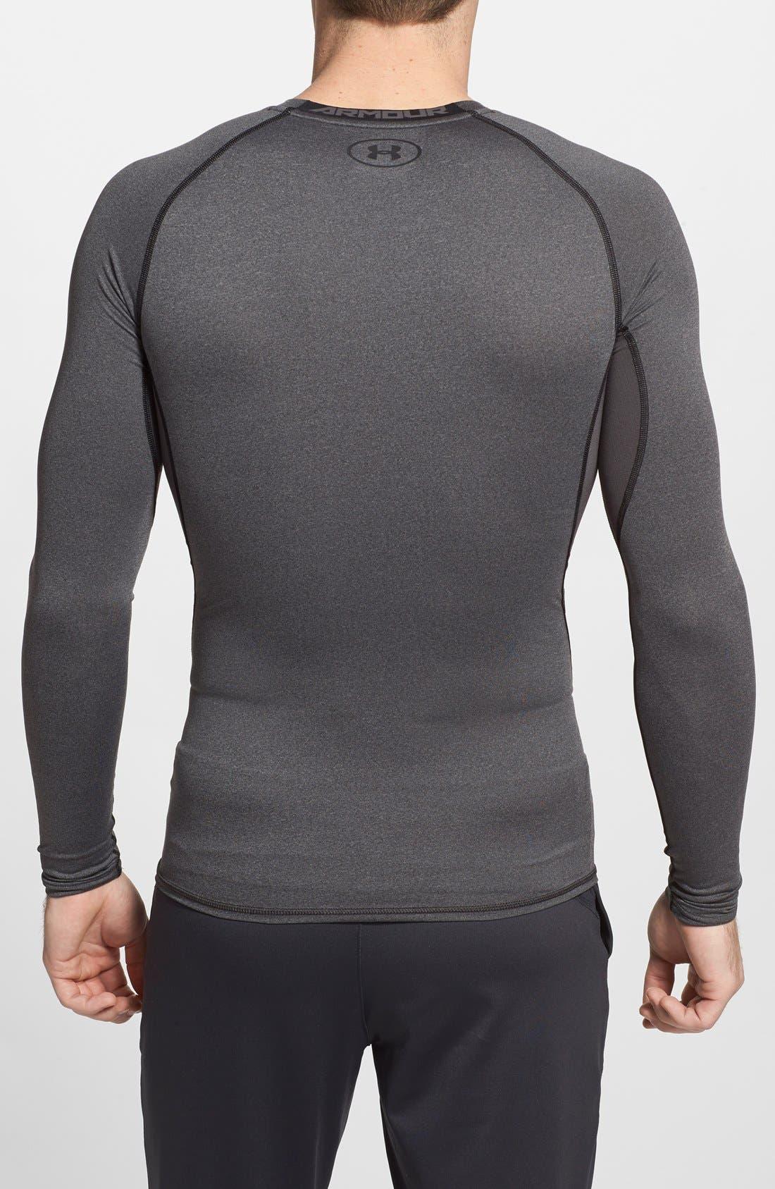 HeatGear<sup>®</sup> Compression Fit Long Sleeve T-Shirt,                             Alternate thumbnail 7, color,                             CARBON HEATHER/ BLACK