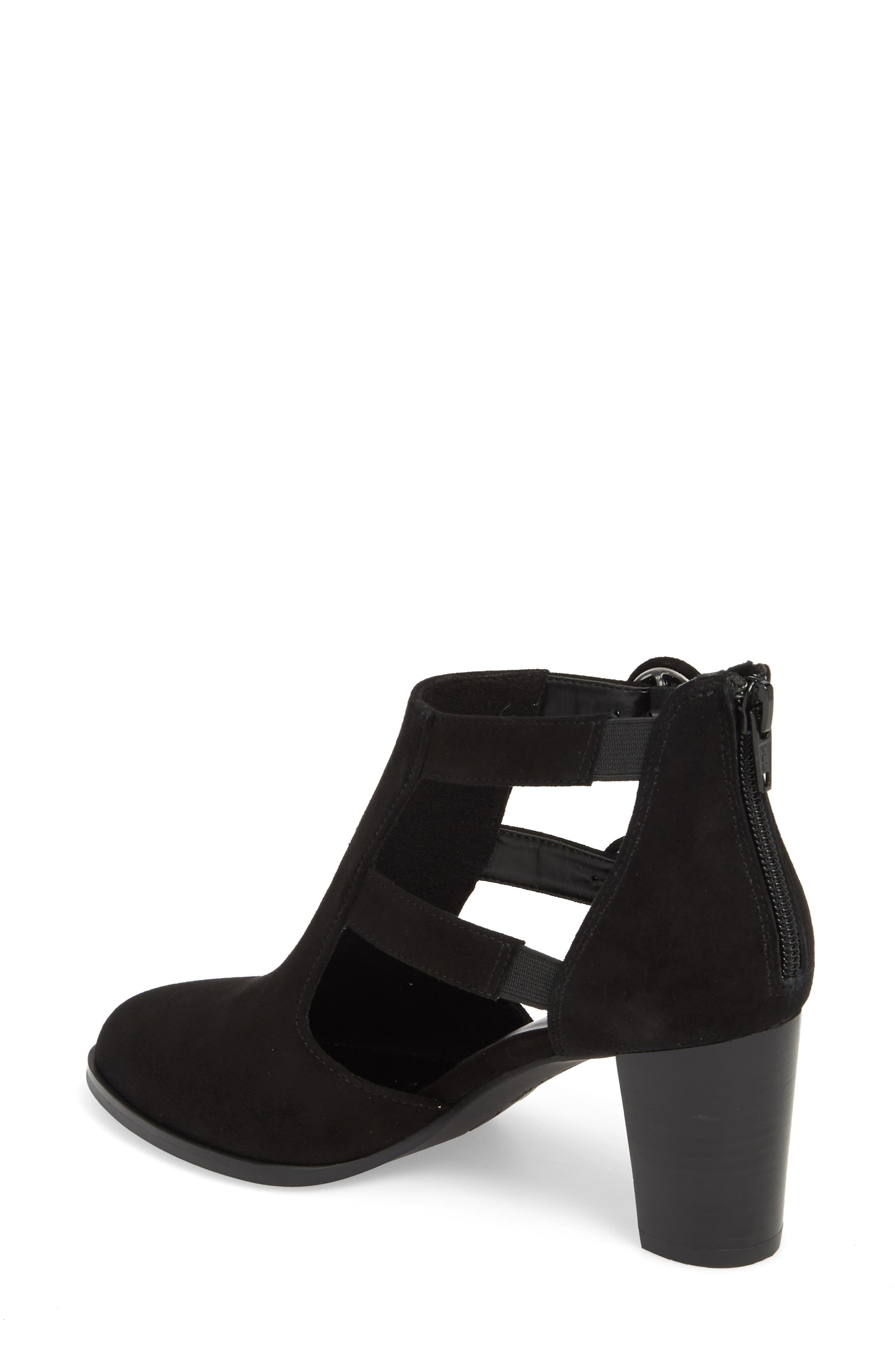 Exotic Caged Bootie,                             Alternate thumbnail 2, color,                             BLACK SUEDE