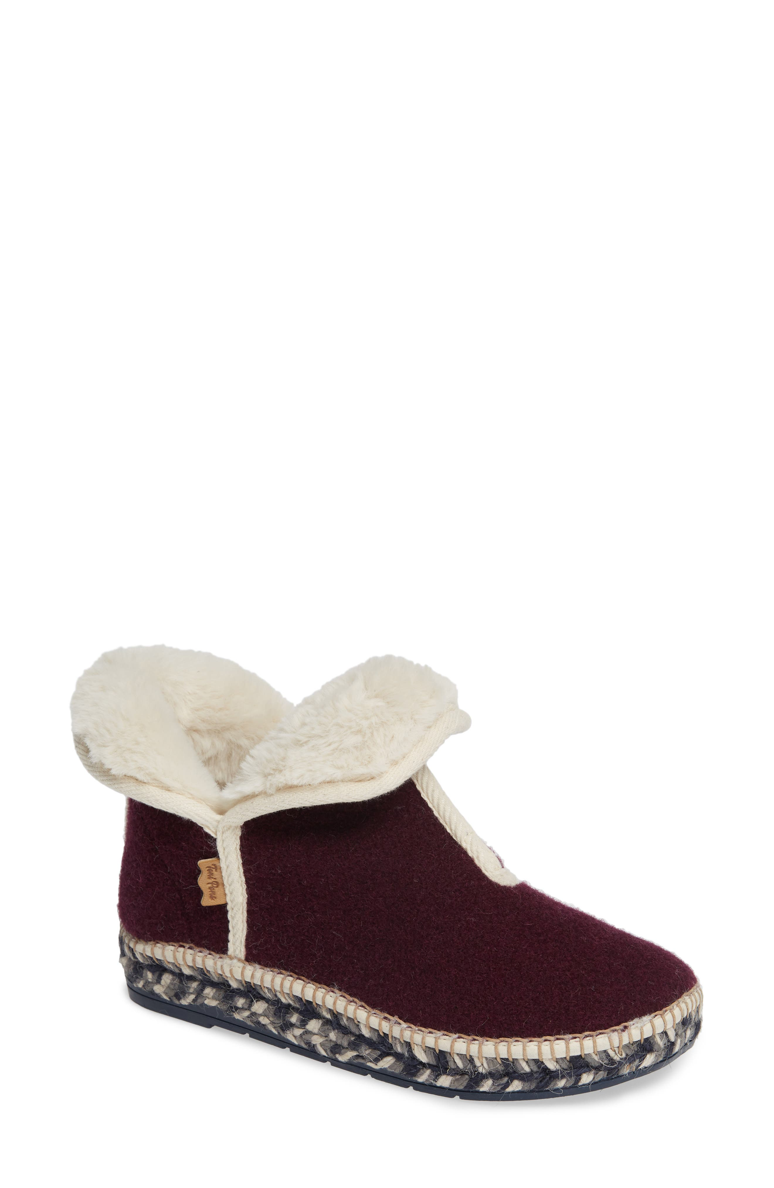 TONI PONS Espadrille Platform Bootie With Faux Fur Lining in Purple Fabric
