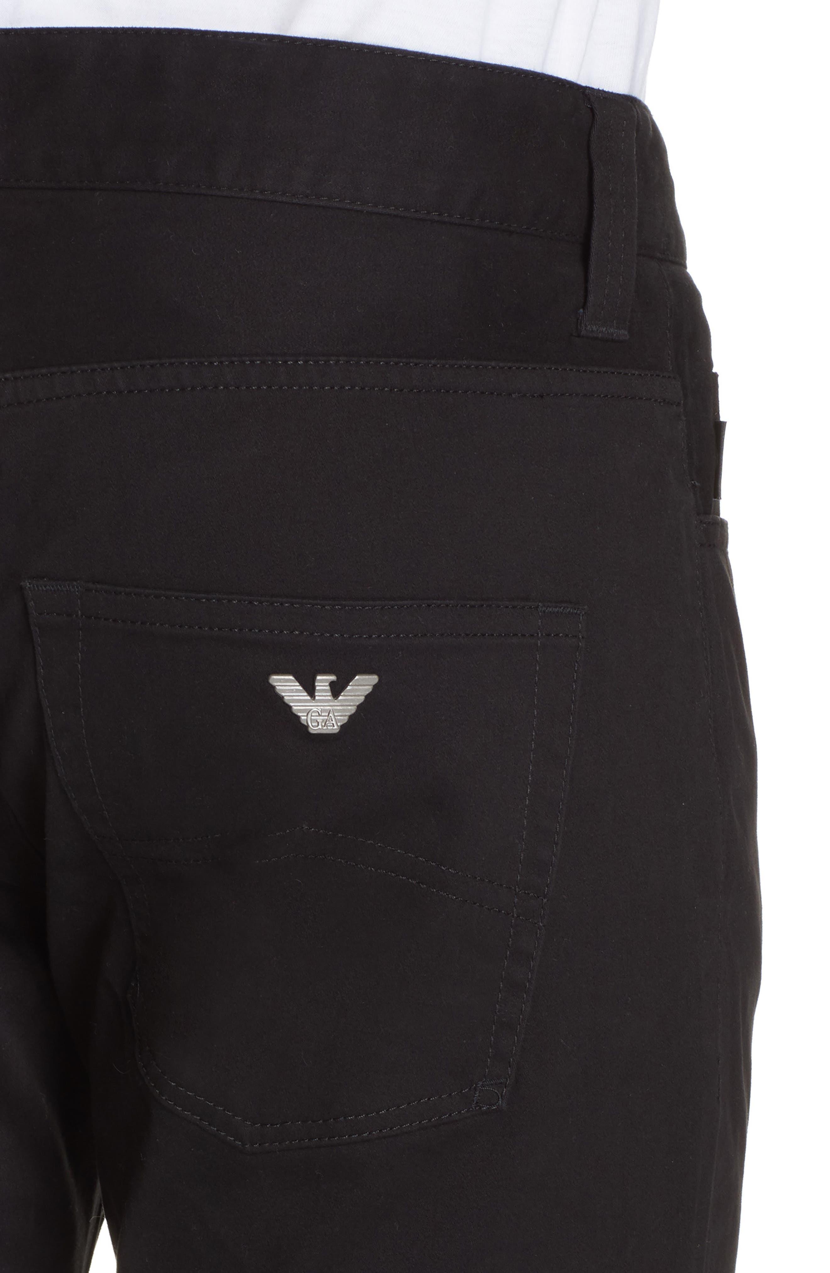 Stretch Cotton Five Pocket Trousers,                             Alternate thumbnail 4, color,                             BLACK