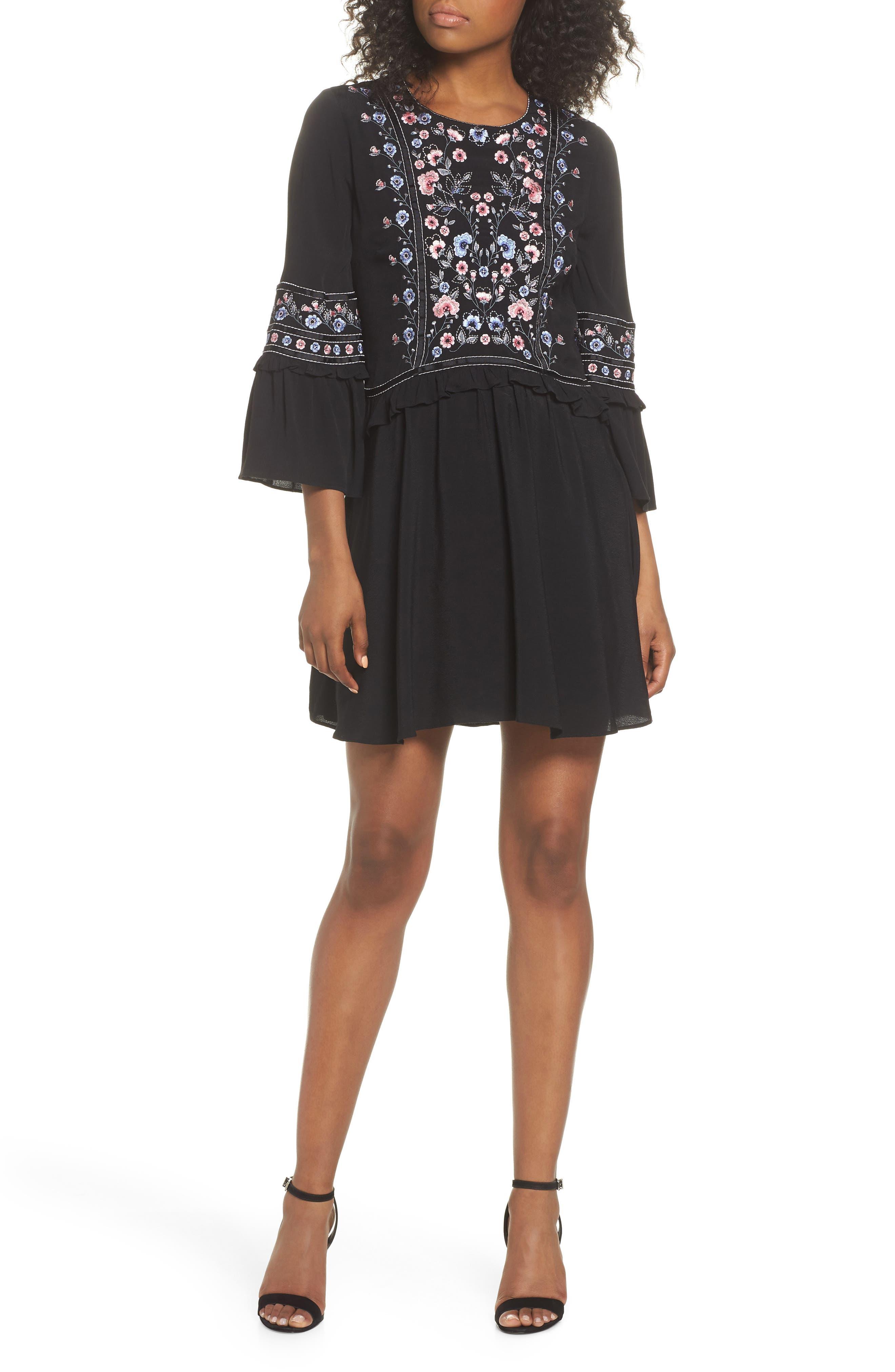 Embroidered Babydoll Dress,                         Main,                         color, BLACK