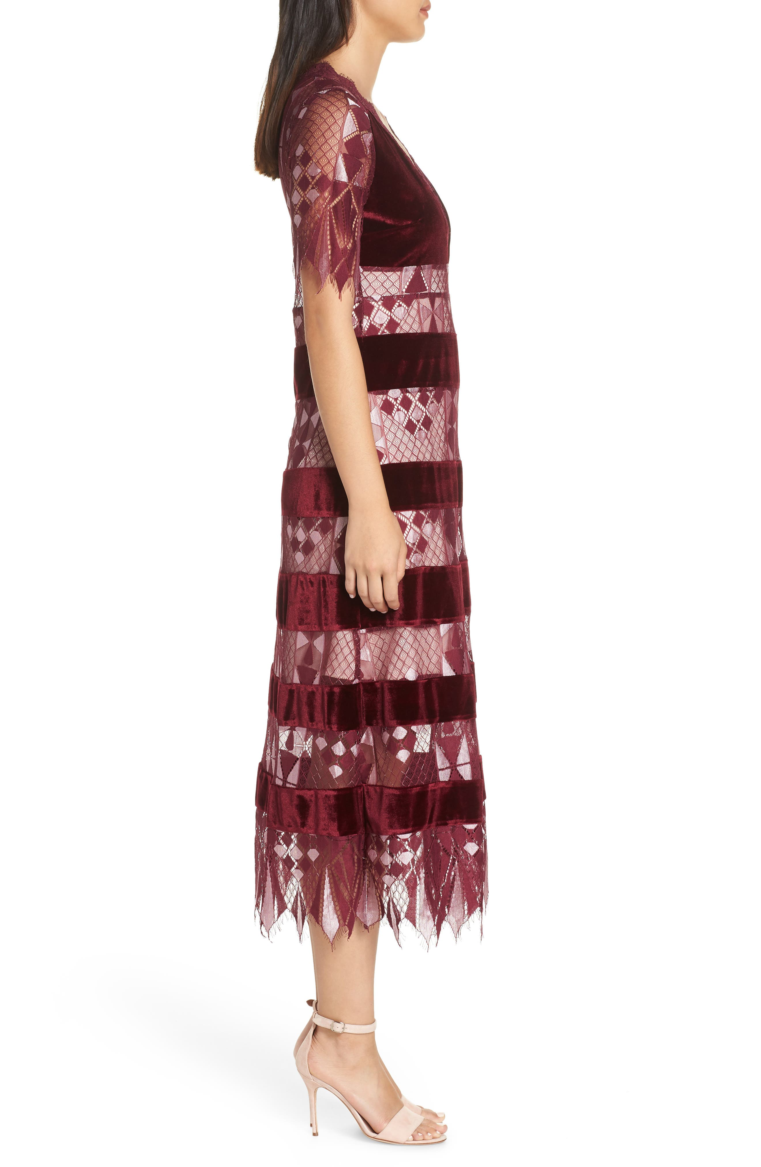Aria Zulu Lace & Velvet Midi Dress,                             Alternate thumbnail 3, color,                             BURGUNDY