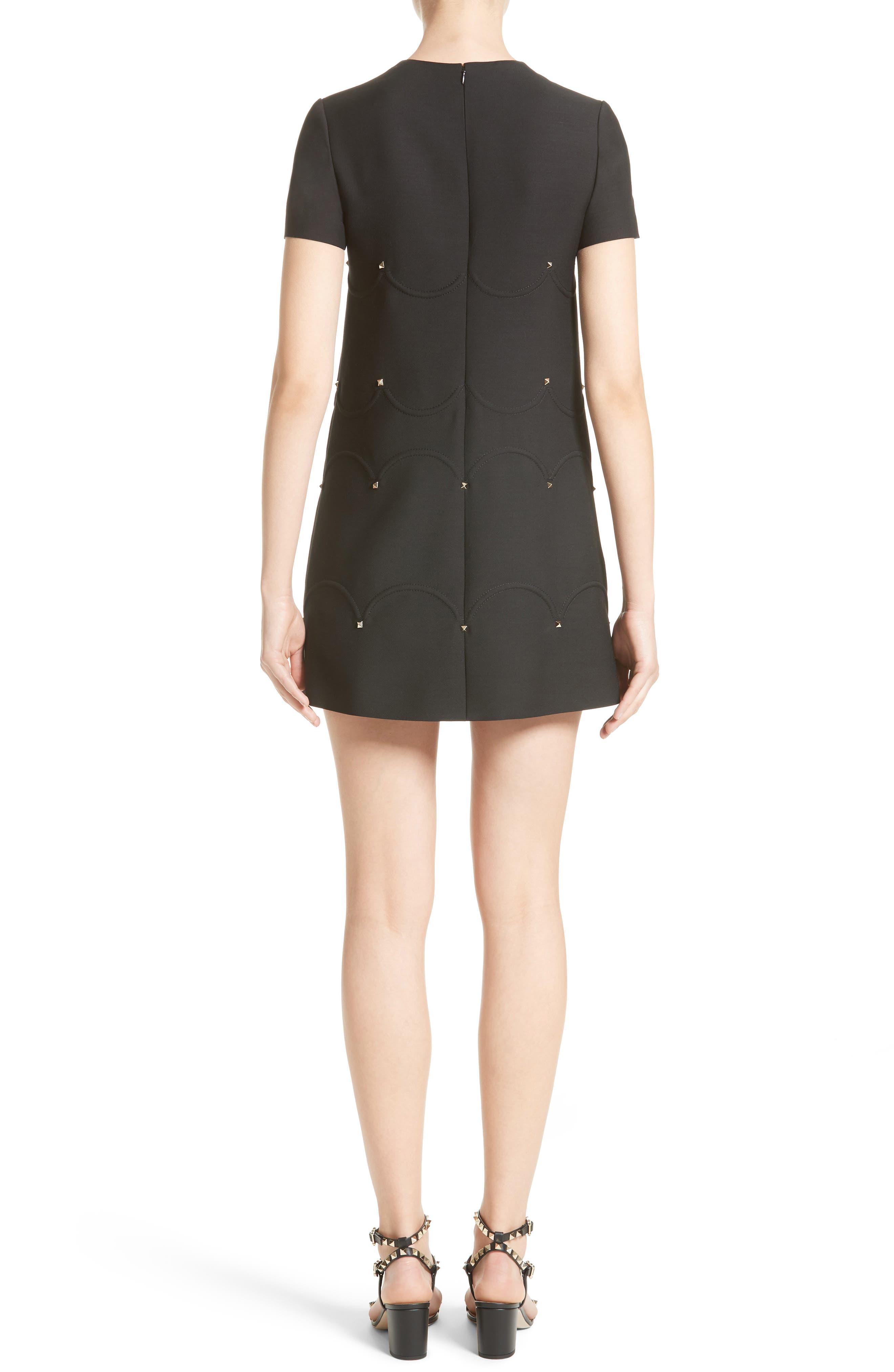 Studded Scallop Dress,                             Alternate thumbnail 2, color,                             BLACK