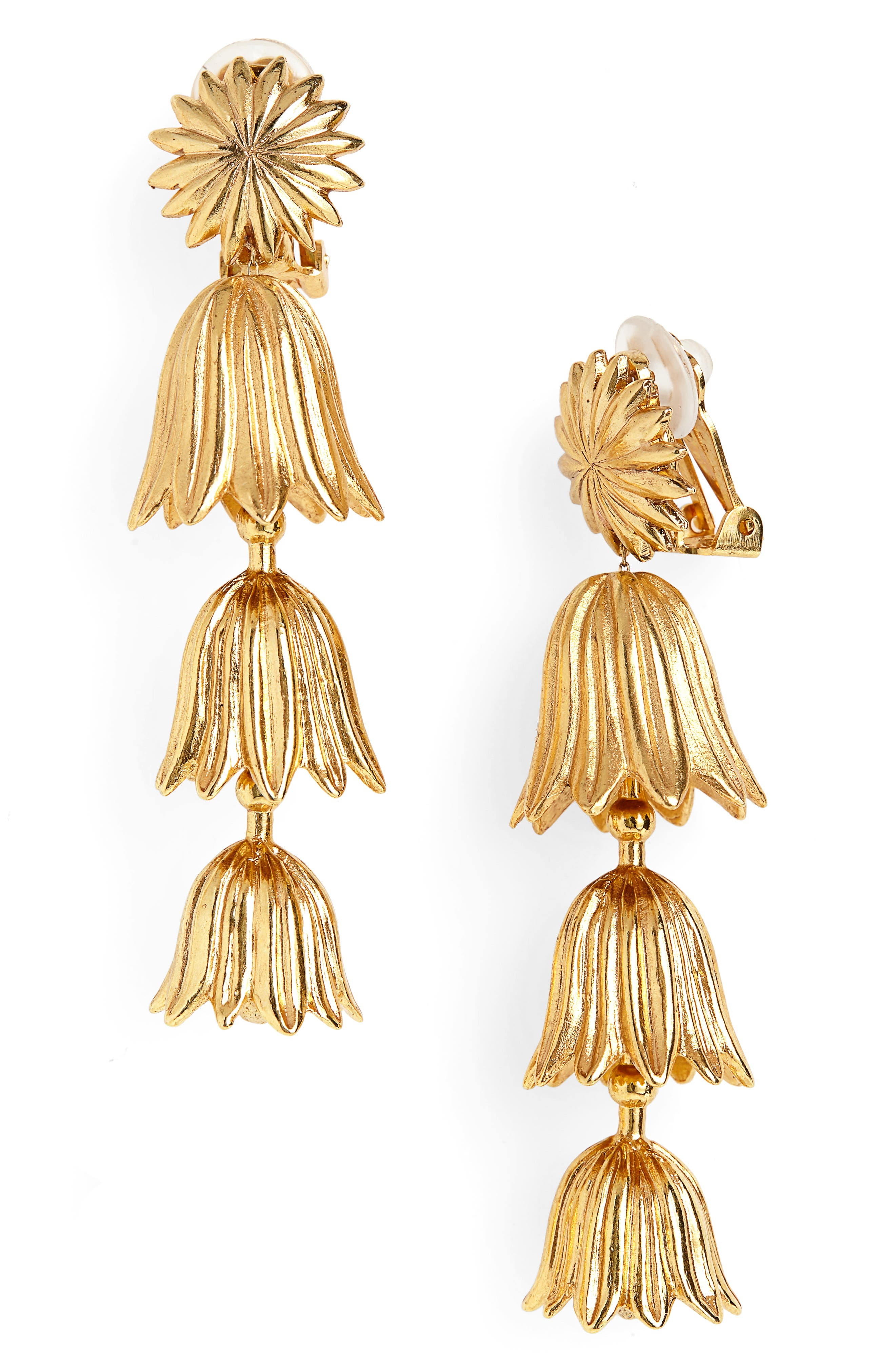 Tiered Flower Clip Earrings,                         Main,                         color, GOLD