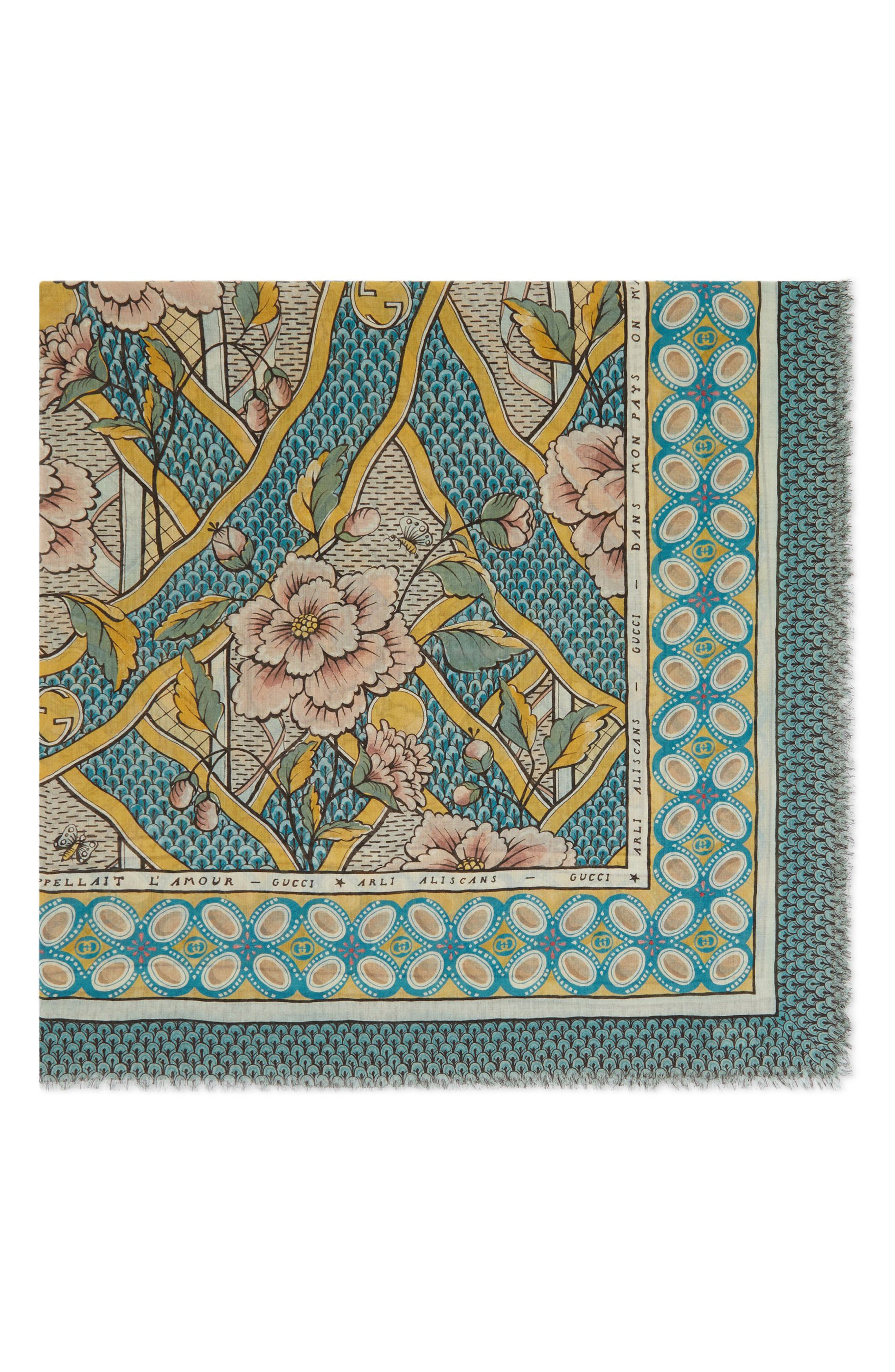 Loraine Floral Wool & Silk Scarf,                             Alternate thumbnail 2, color,                             GOLD/ SKY BLUE