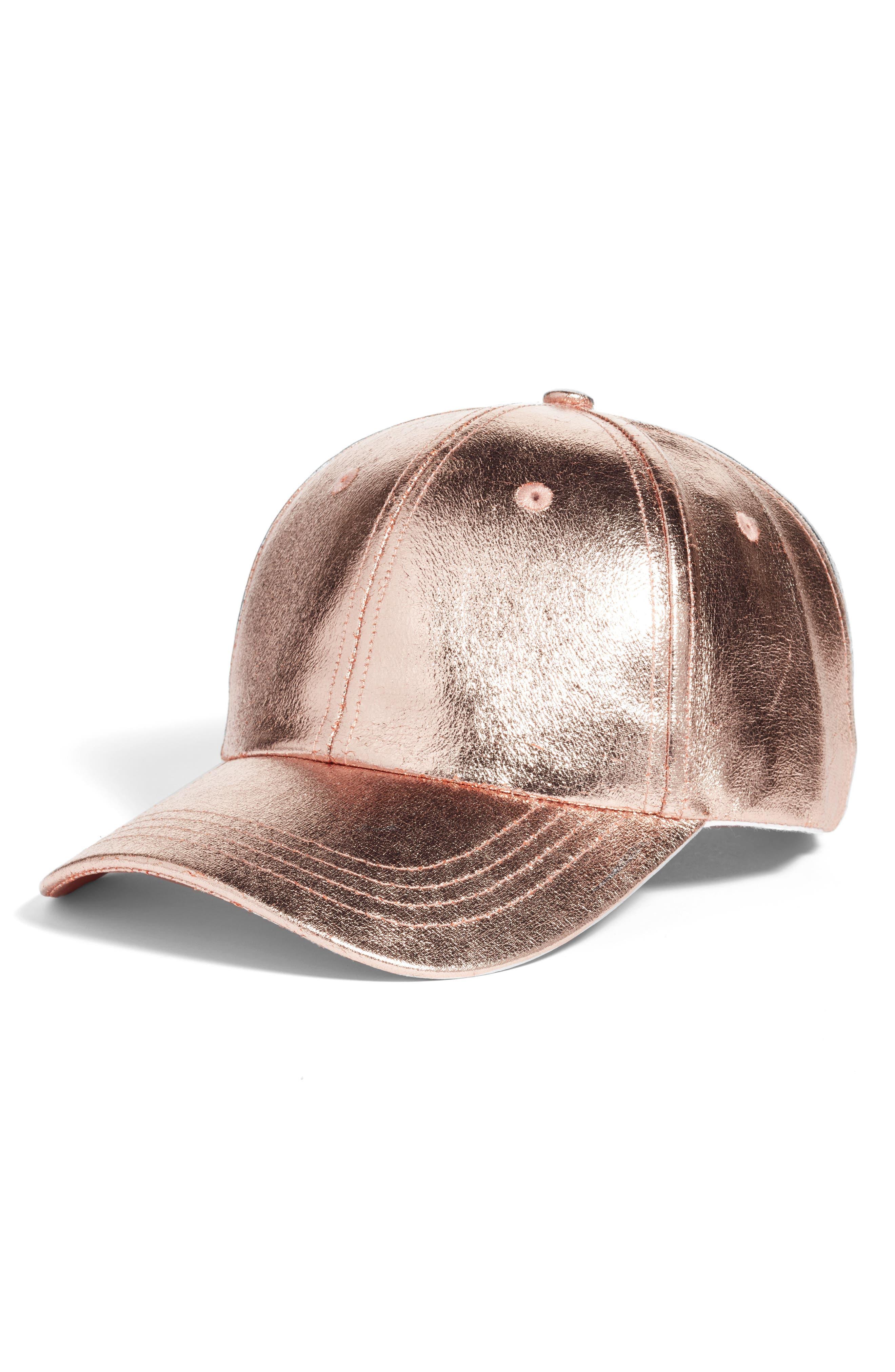 Crackled Metallic Baseball Cap,                             Main thumbnail 3, color,