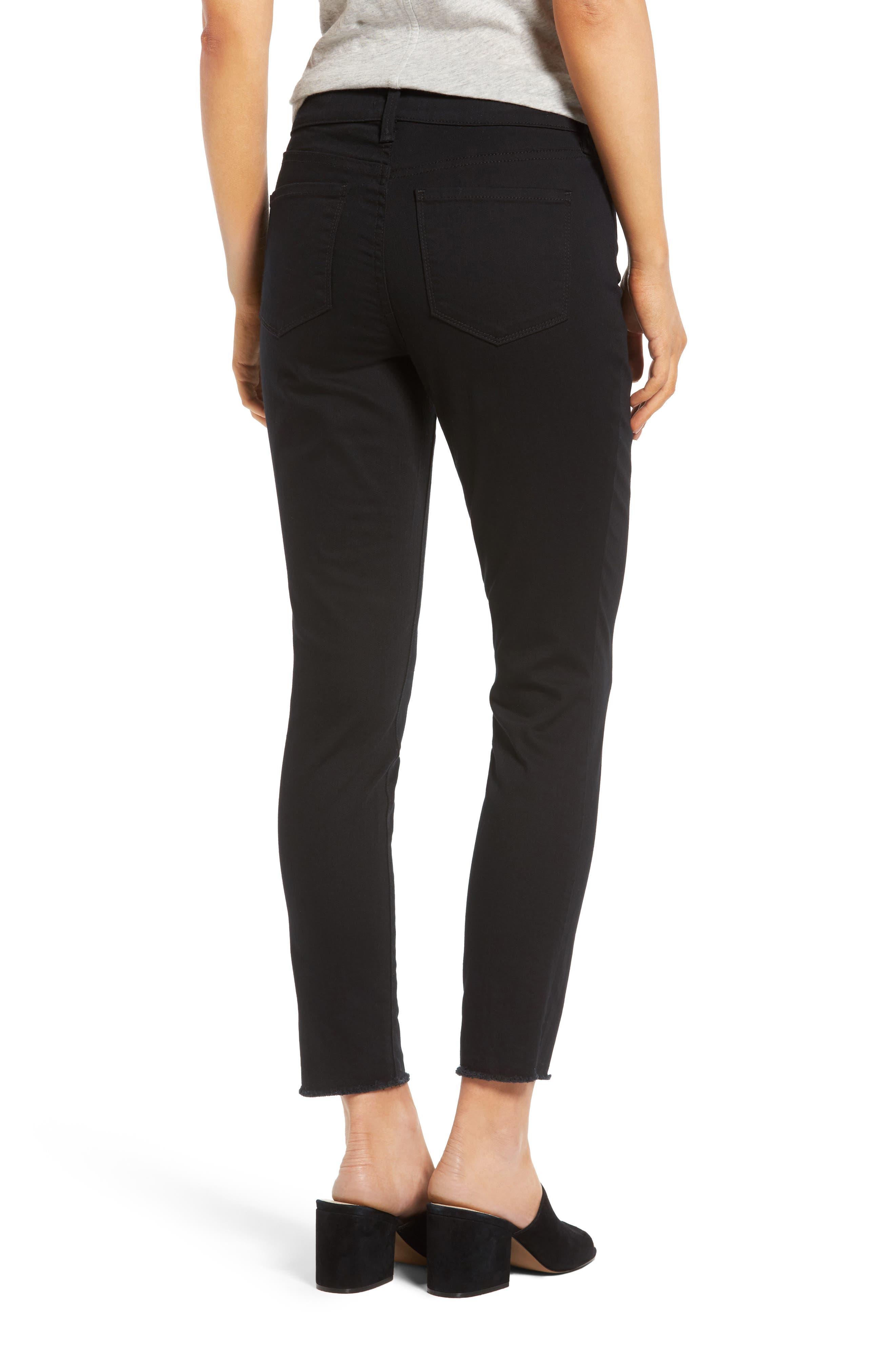 Alina Frayed Stretch Twill Ankle Pants,                             Alternate thumbnail 2, color,                             001