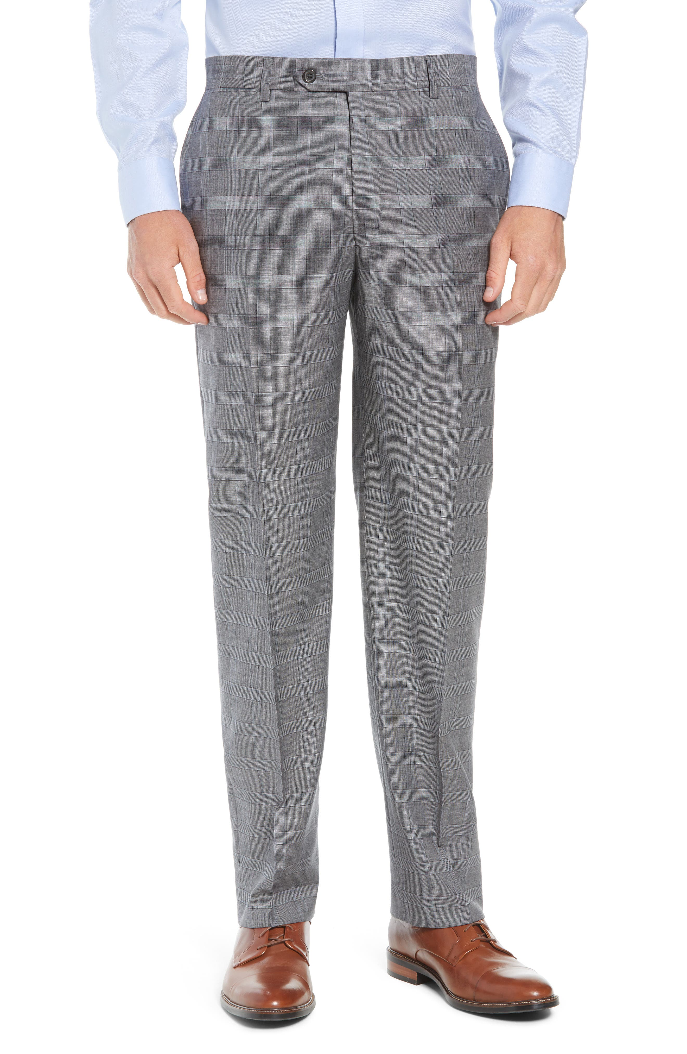 New York Classic Fit Plaid Wool Suit,                             Alternate thumbnail 6, color,                             MID GREY