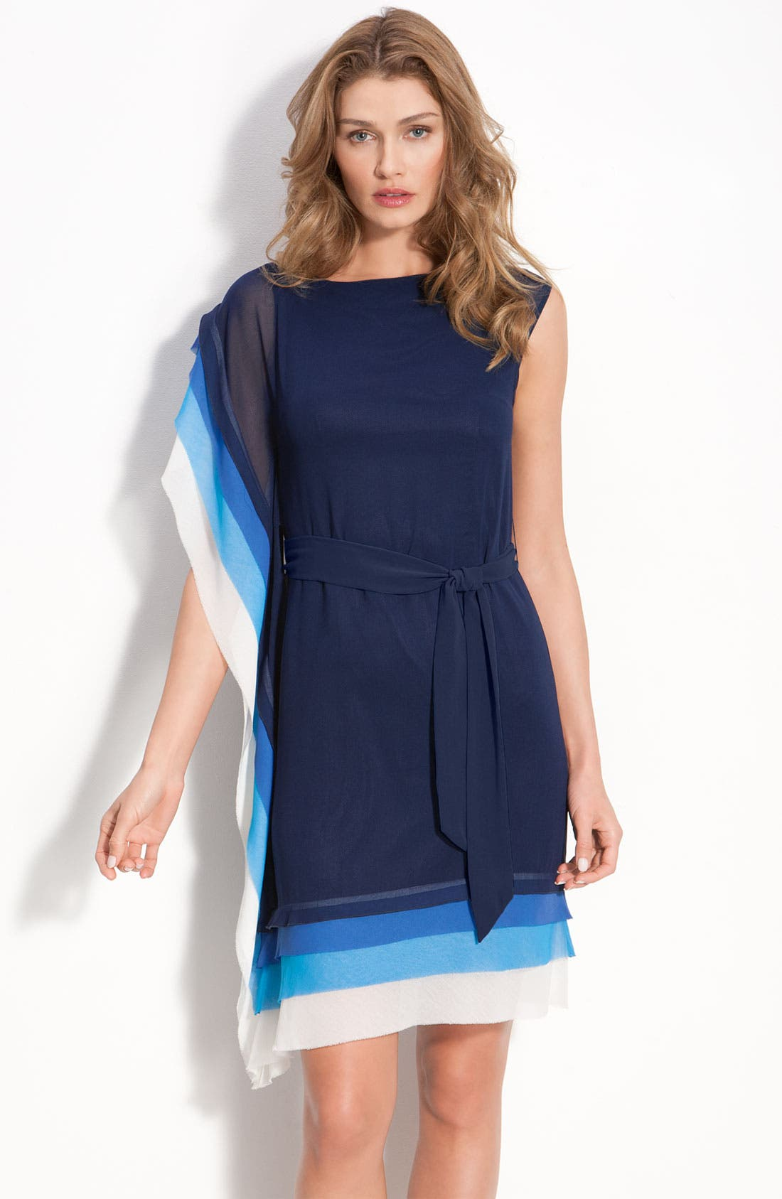 VINCE CAMUTO Asymmetric Layered Tier Dress with Sash Tie, Main, color, 405
