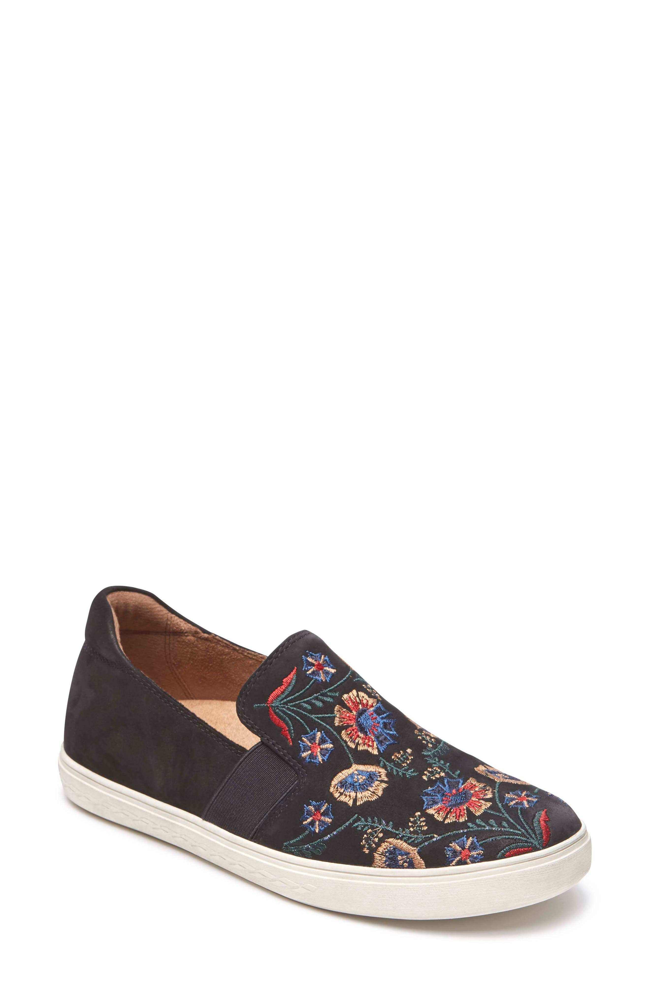 Cobb Hill Flower Embroidered Slip-On Sneaker,                         Main,                         color, BLACK NUBUCK