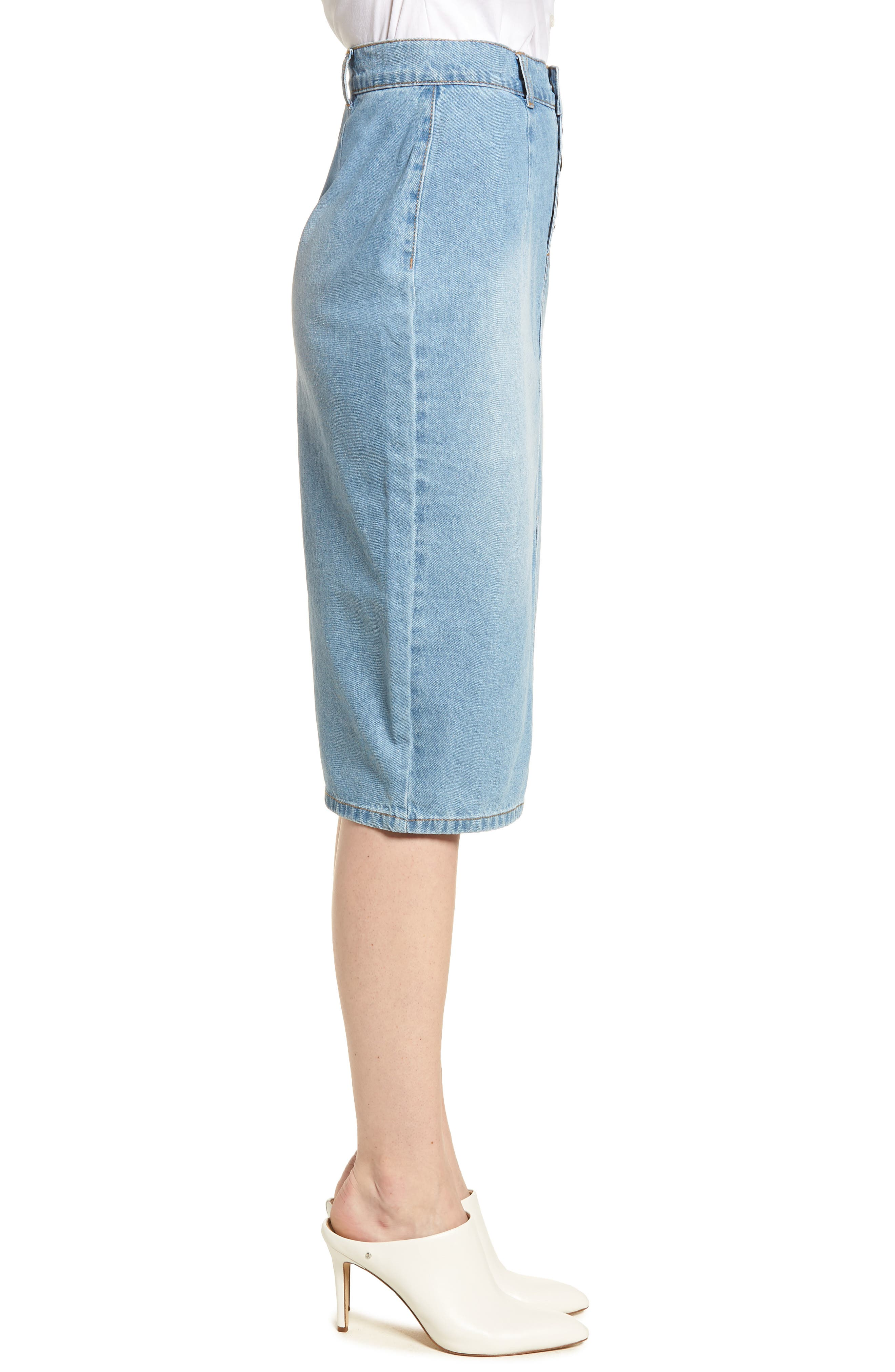LOST INK,                             Essential Button Front Denim SKirt,                             Alternate thumbnail 3, color,                             400