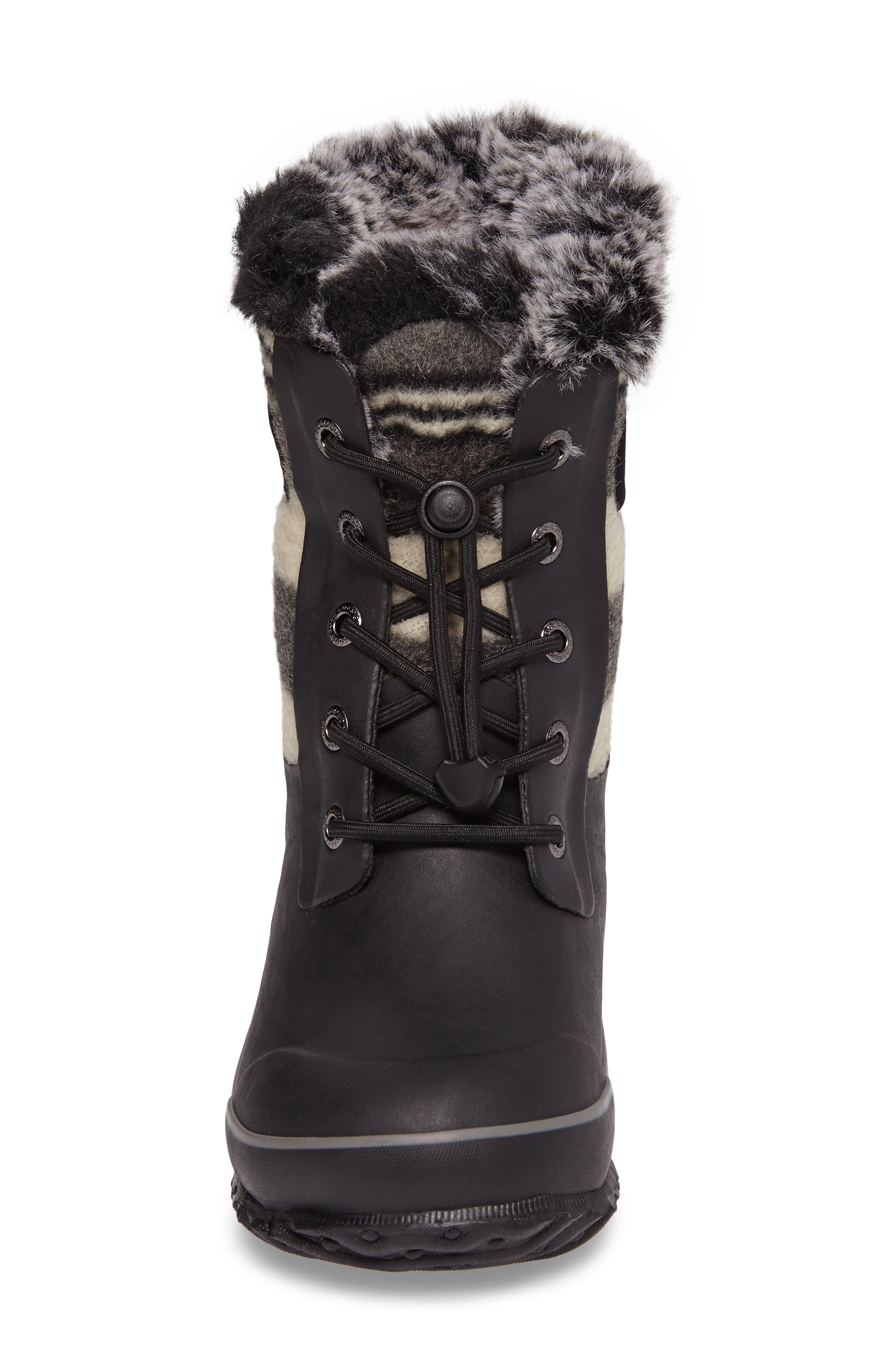 Arcata Stripe Waterproof Insulated Faux Fur Boot,                             Alternate thumbnail 4, color,                             BLACK MULTI