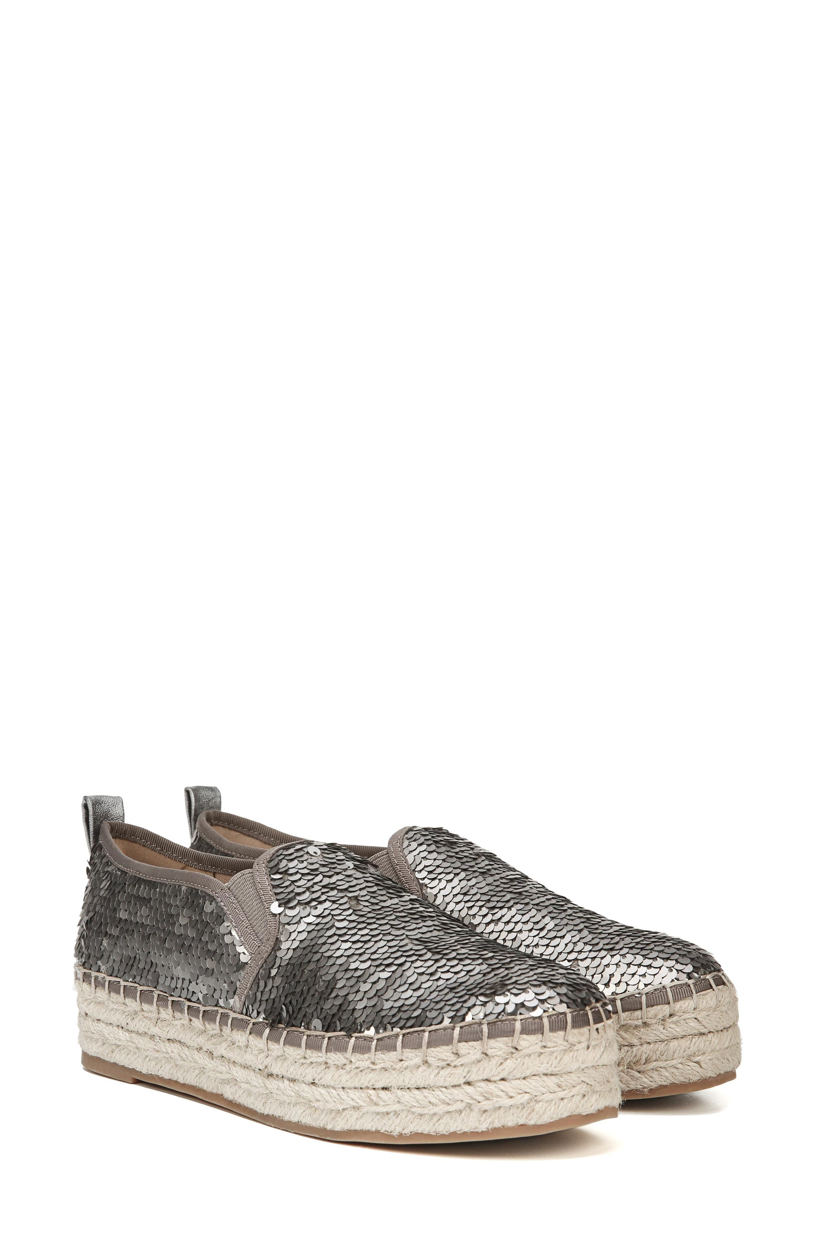 'Carrin' Espadrille Flat,                             Alternate thumbnail 7, color,                             PEWTER SEQUINS