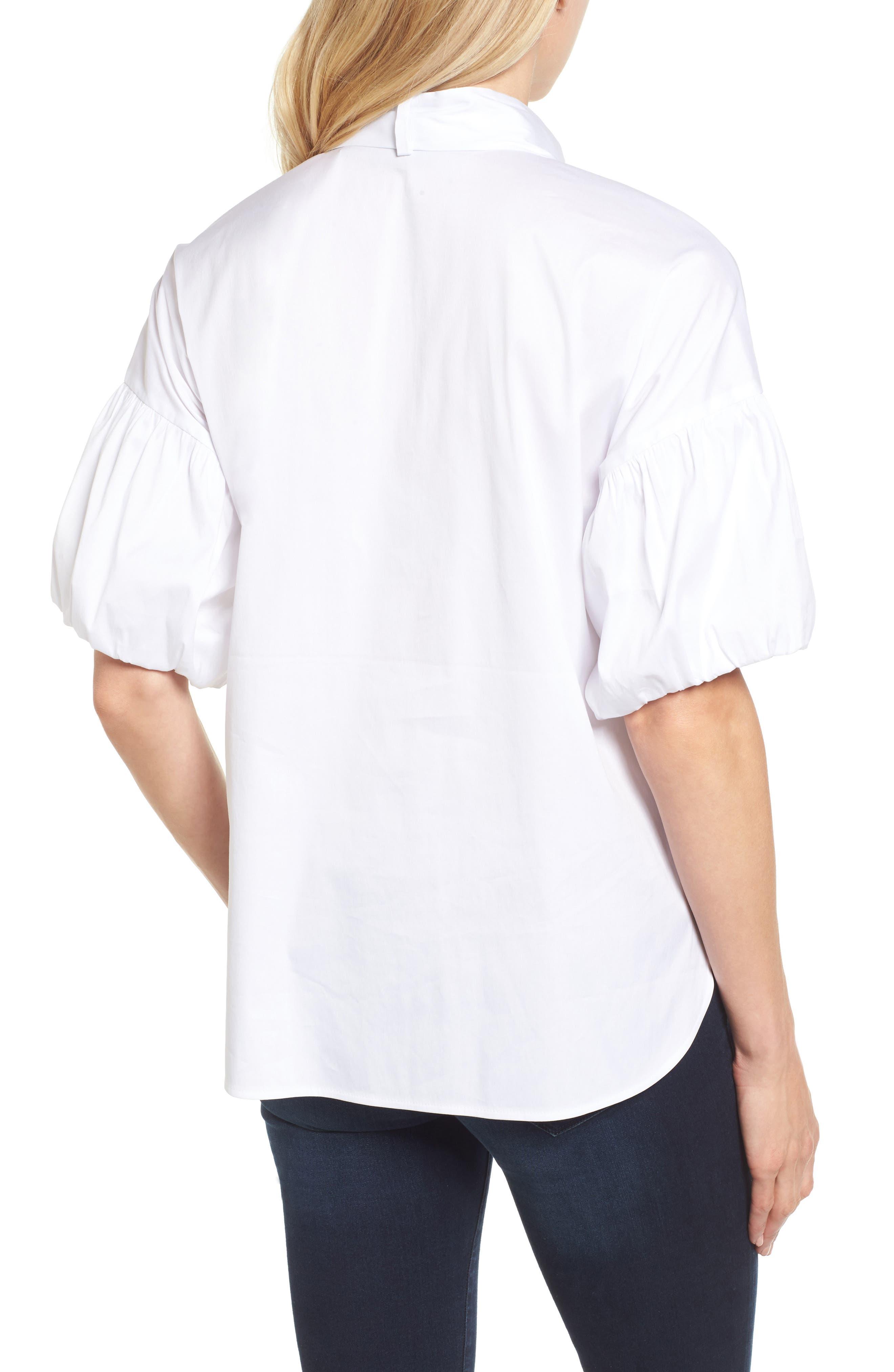 Tie Front Short Sleeve Blouse,                             Alternate thumbnail 2, color,                             100