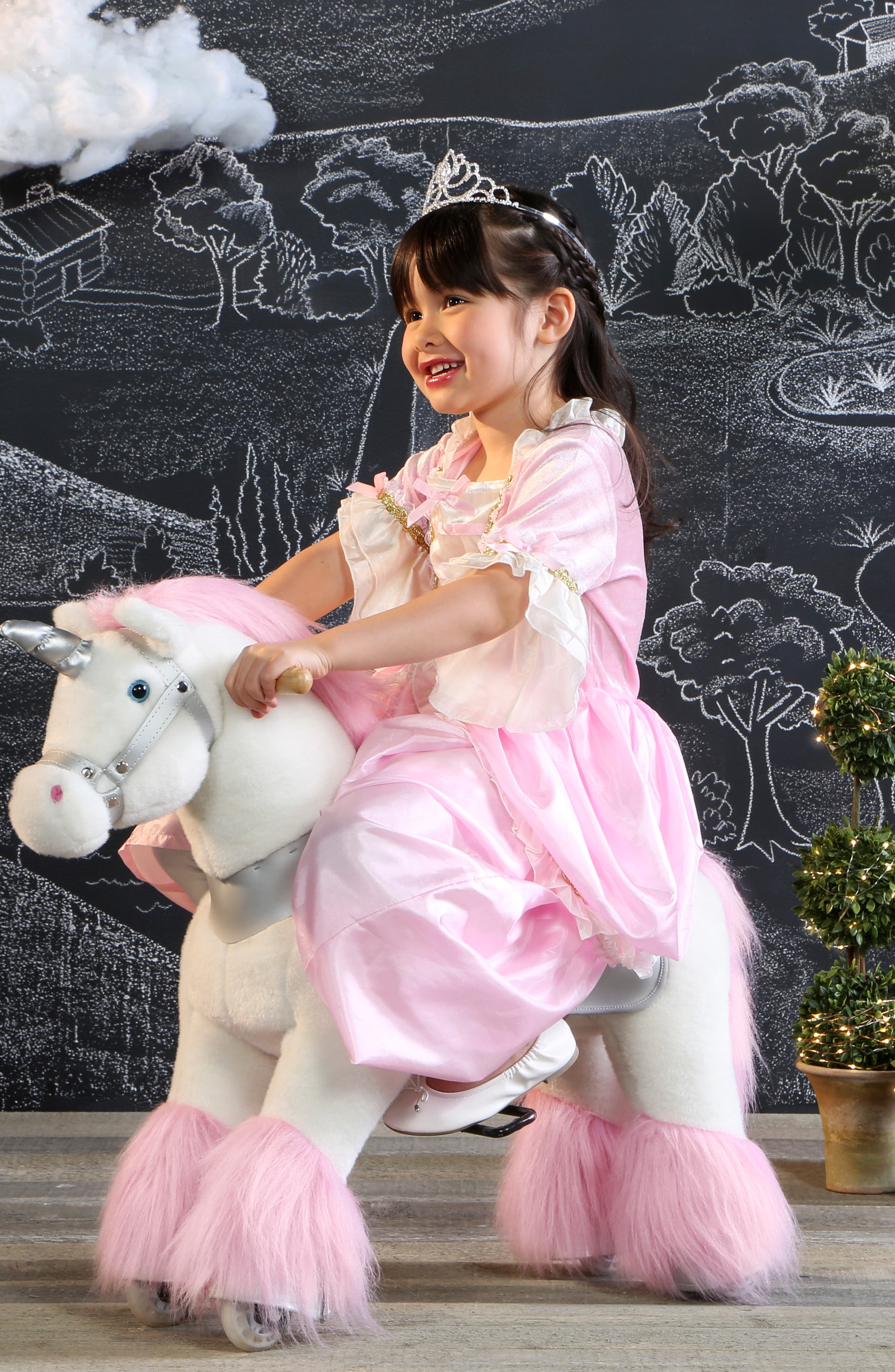 Plush Ride-On Unicorn Toy,                             Alternate thumbnail 2, color,                             100
